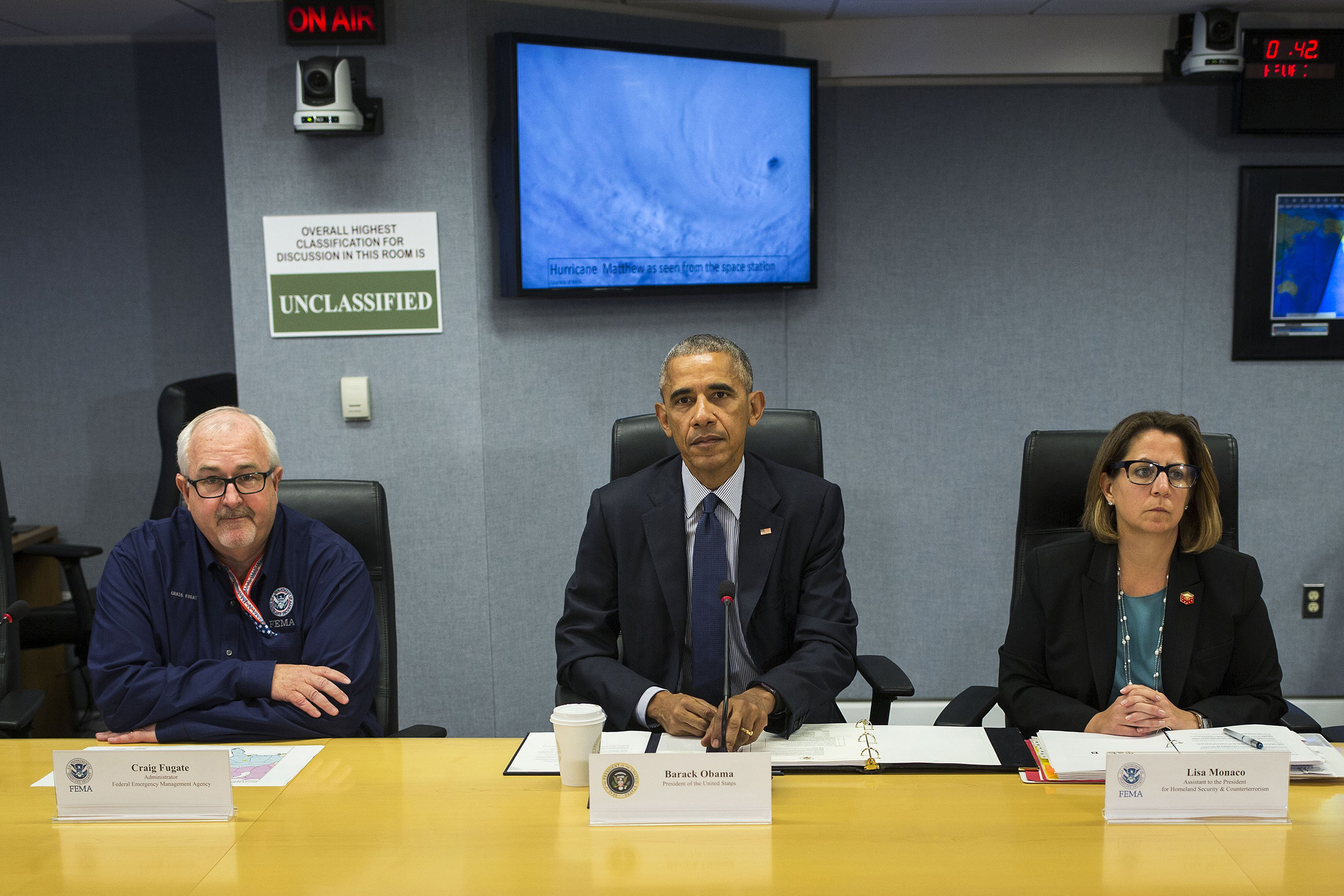 Barack Obama attends a briefing about Hurricane Matthew, at the FEMA headquarters in Washington, Oct. 5, 2016.