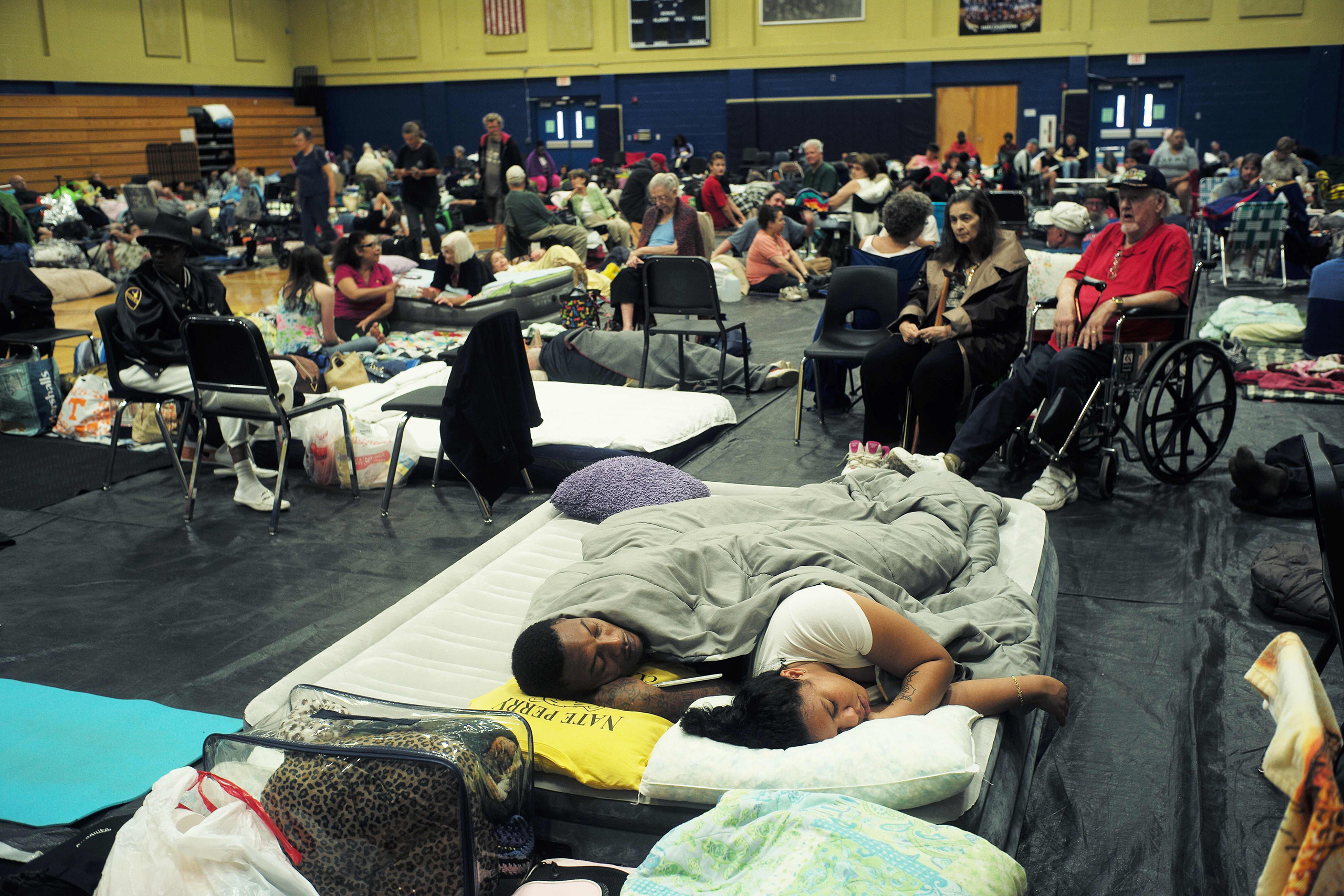 Local residents take shelter at the Pedro Menendez high school in St. Augustine, Fla., on Oct. 6, 2016.