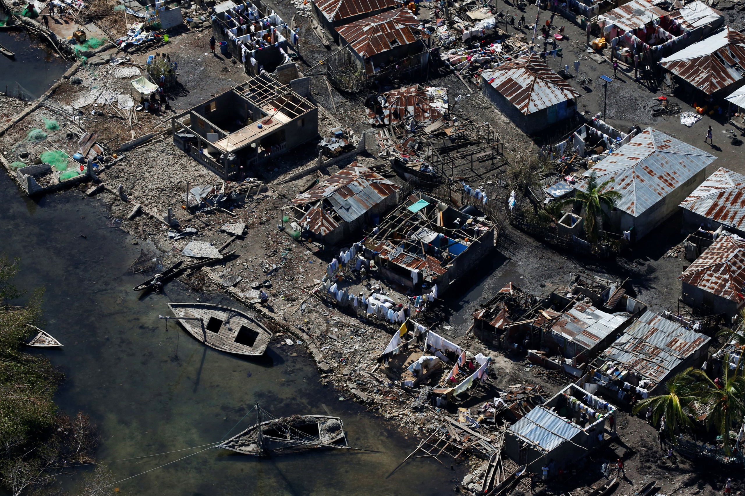 Destroyed houses are seen after Hurricane Matthew passes in Corail, Haiti, on Oct. 8, 2016.