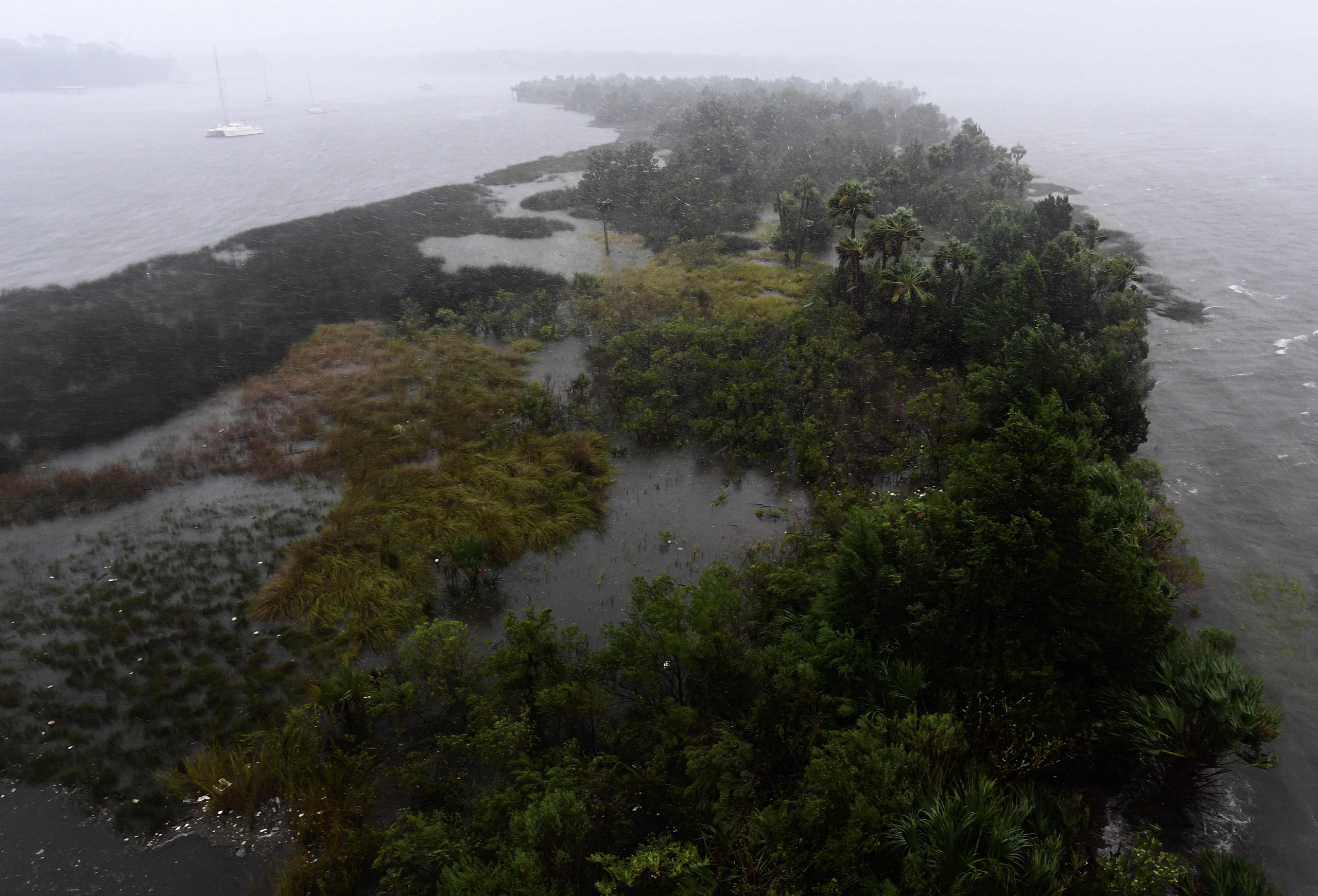 A flooded Exchange Club island is pictured as Hurricane Matthew passes through Jacksonville, Fla., on Oct.7, 2016.