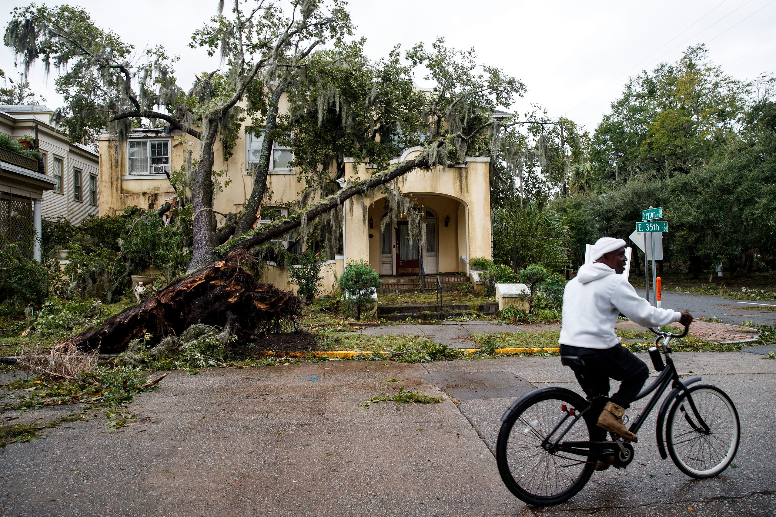 A downed tree from Hurricane Matthew rests against a home in Savannah, Ga., on Oct. 8, 2016.