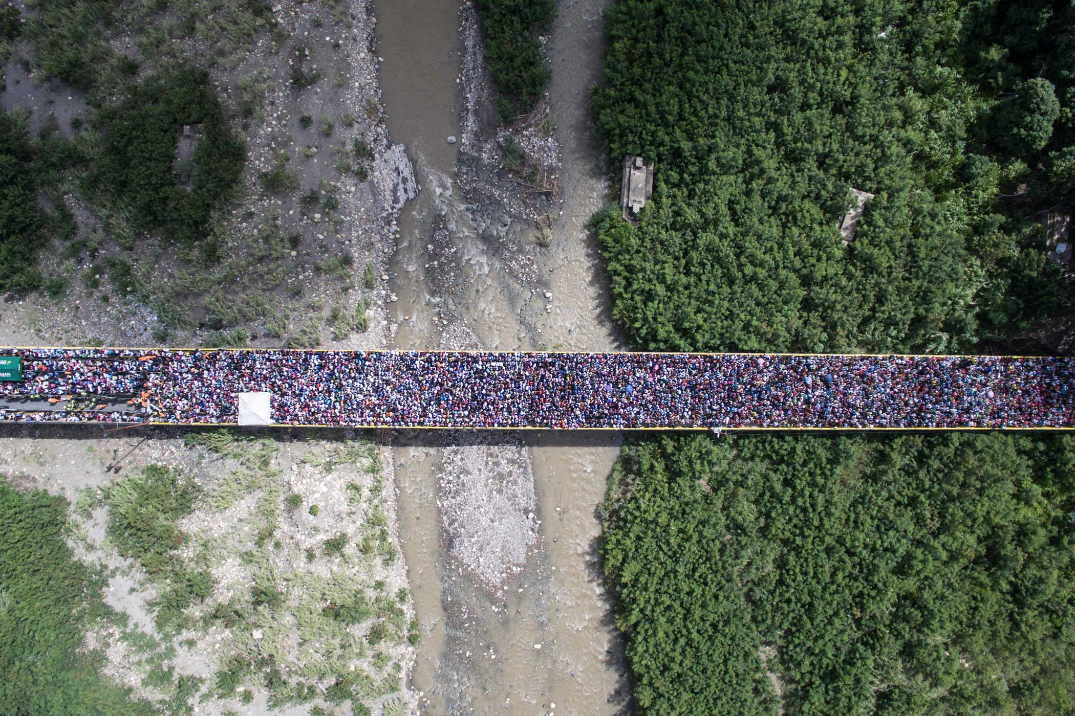 Thousands of Venezuelans crossed the border with Colombia after it had been closed for 11 months. Villa del Rosario, Columbia.