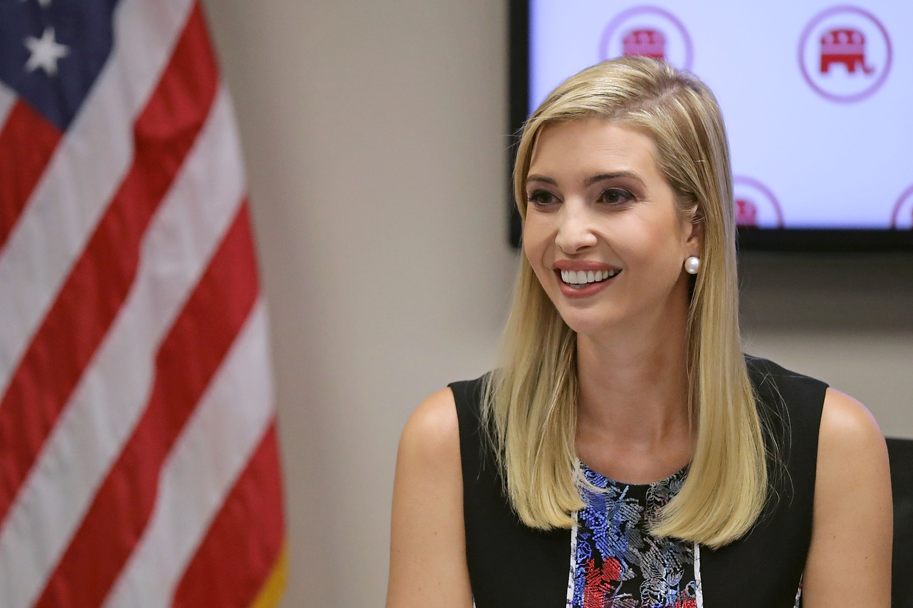 Ivanka Trump, daughter of Republican presidential nominee Donald Trump, visits with women GOP members of Congress at the Republican National Committee headquarters on Capitol Hill on Sept. 20, 2016 in Washington, DC.