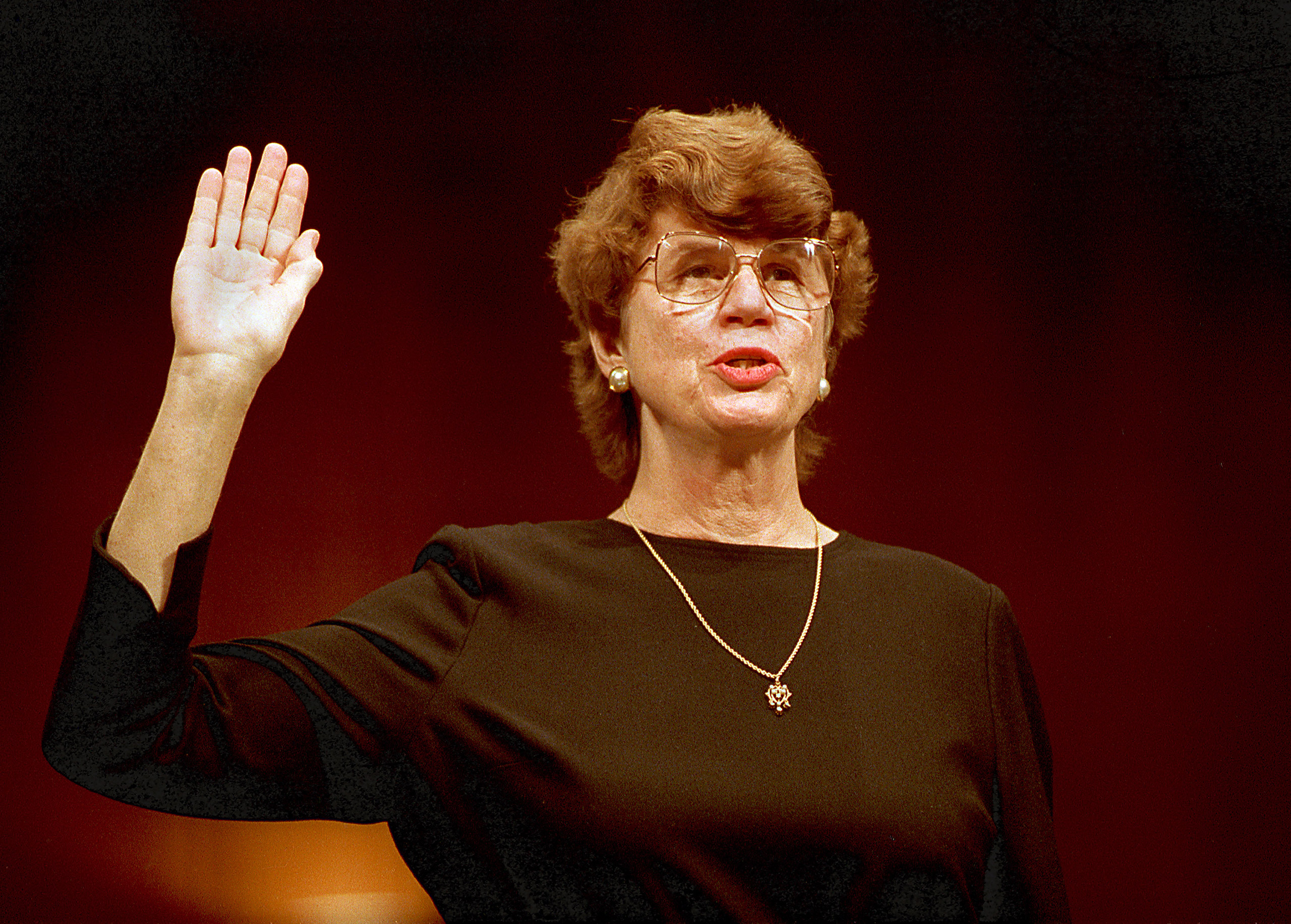 Janet Reno is sworn in before the Senate Judiciary Committee on Capitol Hill in Washington, D.C., Tuesday, March 9, 1993.