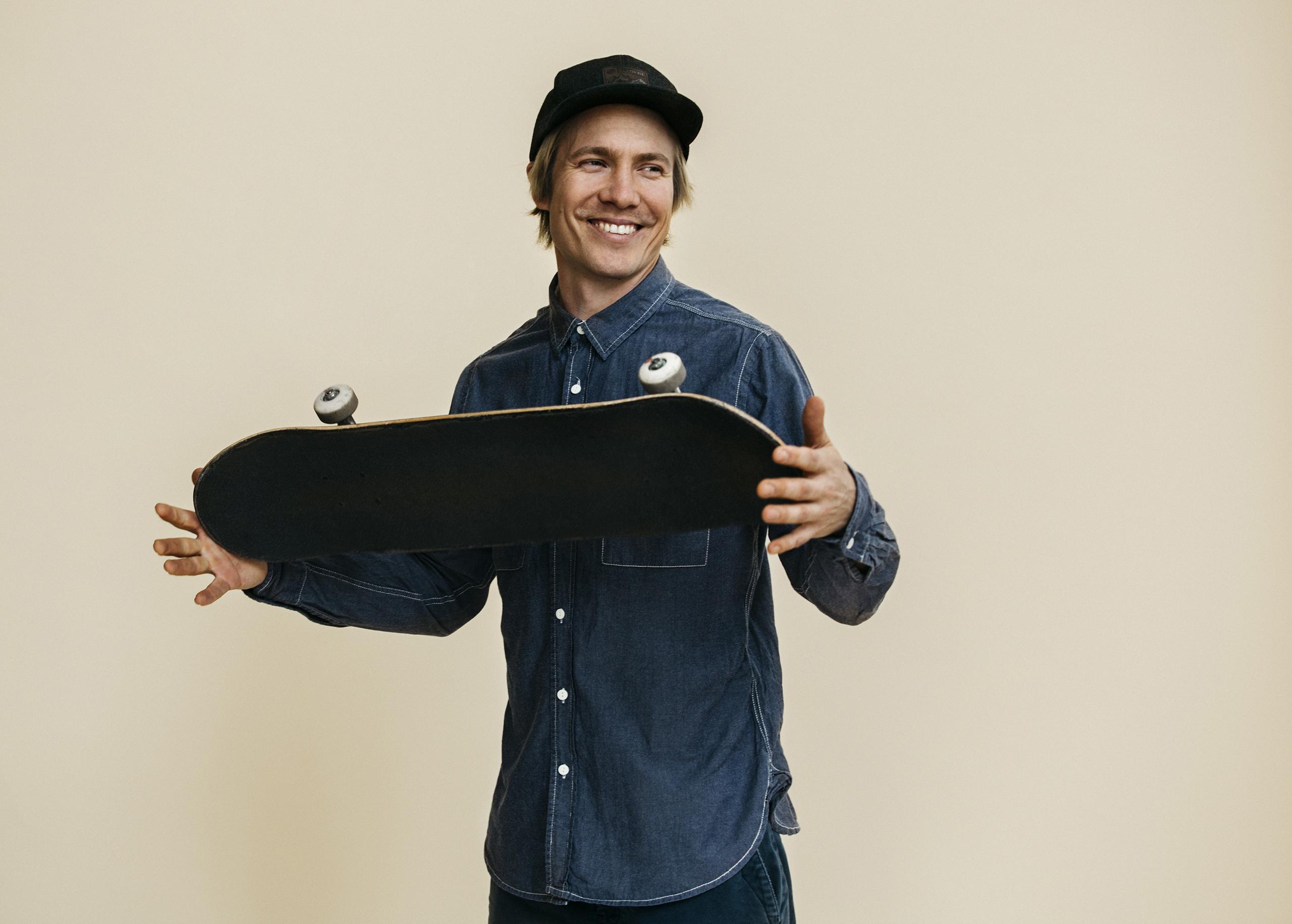Portrait of landscape architect, Janne Saario, with his skateboard in Helsinki, Finland. Sept. 2016.