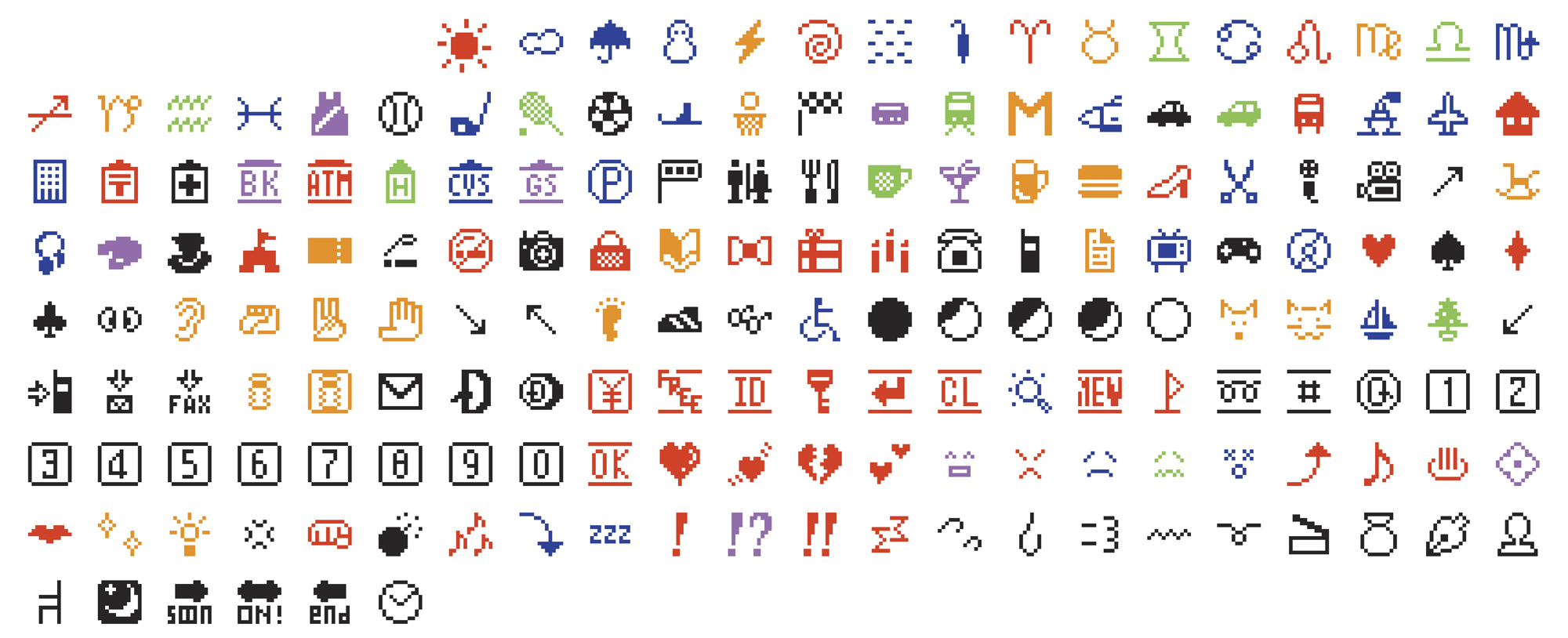 This photo shows the original set of 176 emojis, which the Museum of Modern Art has acquired. The emojis were a gift to the museum from the phone company, Nippon Telegraph and Telephone.