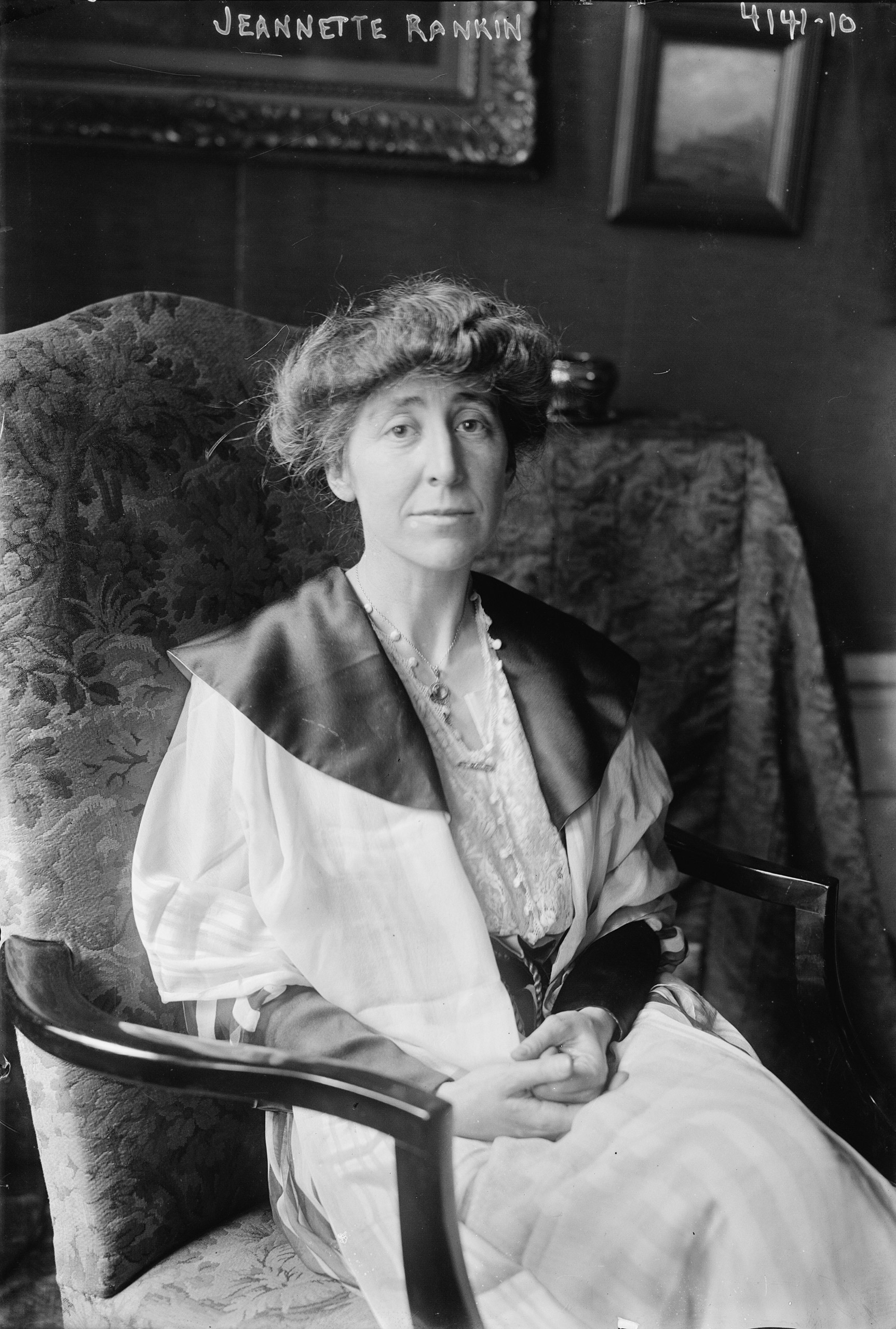 Jeannette Pickering Rankin (1880-1973), a member of the House of Representatives who was elected in 1916 as the first woman to serve in the U.S. Congress.