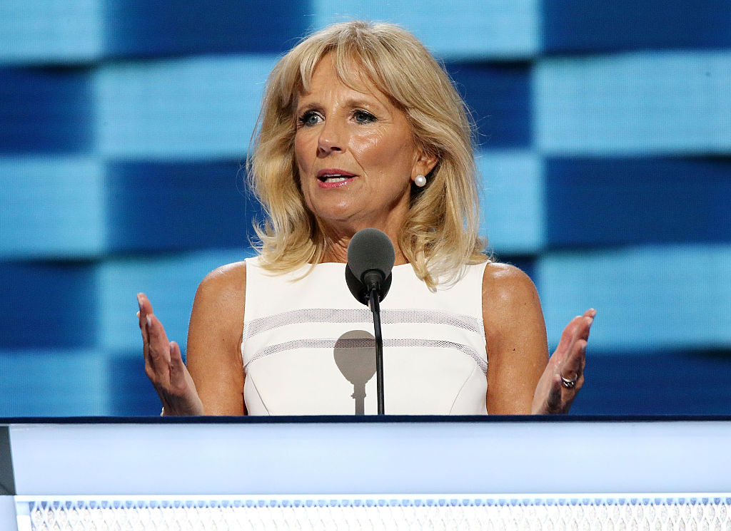 Dr. Jill Biden, wife of US Vice President Joe Biden, delivers remarks on the third day of the Democratic National Convention at the Wells Fargo Center on July 27, 2016 in Philadelphia, Pennsylvania. An estimated 50,000 people are expected in Philadelphia, including hundreds of protesters and members of the media. The four-day Democratic National Convention kicked off July 25.  (Photo by Paul Morigi/WireImage)
