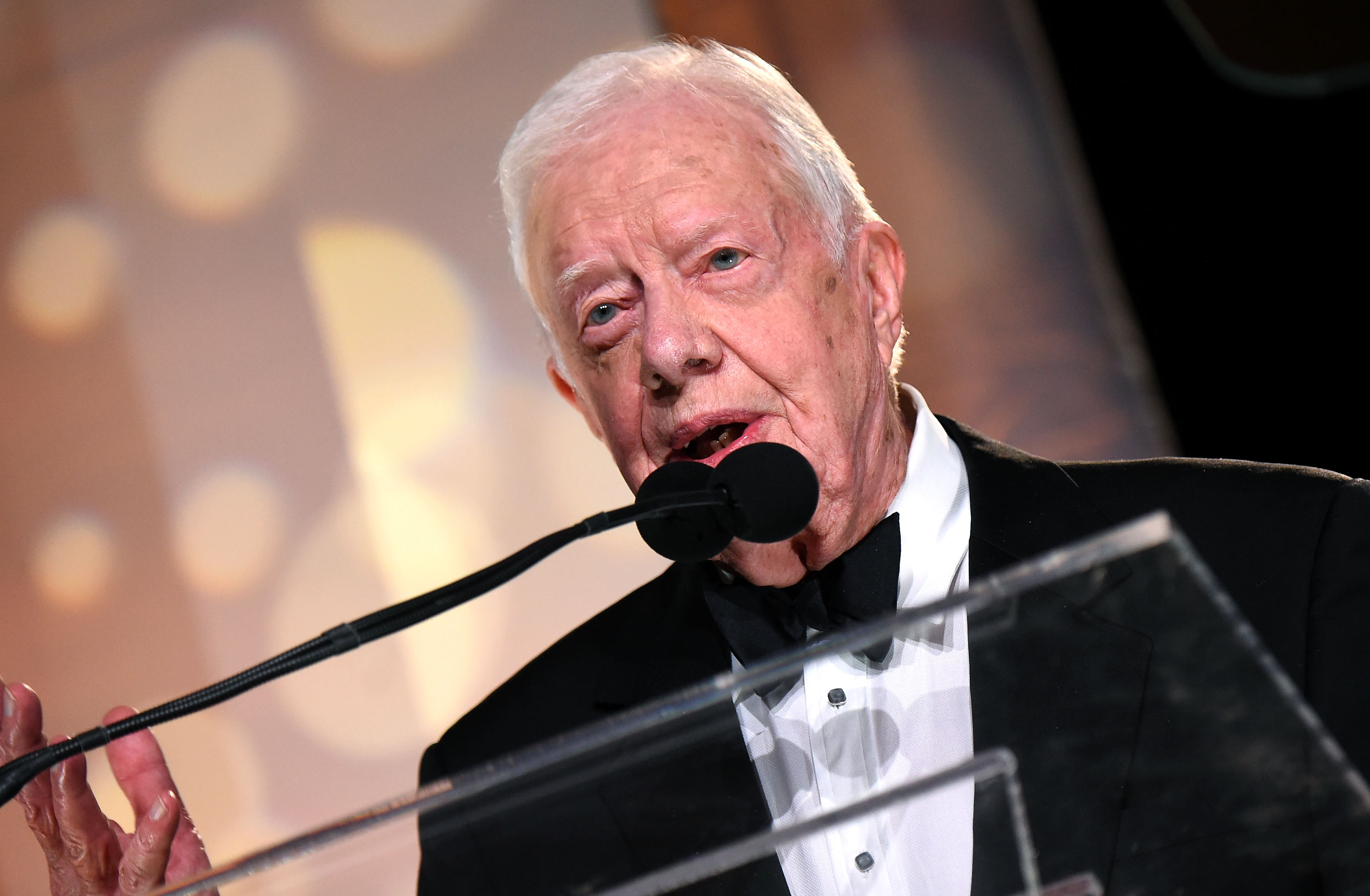 President Jimmy Carter presents Trisha Yearwood (not pictured) with the Voice of Music Award during the 53rd annual ASCAP Country Music awards at the Omni Hotel on Nov. 2, 2015 in Nashville.