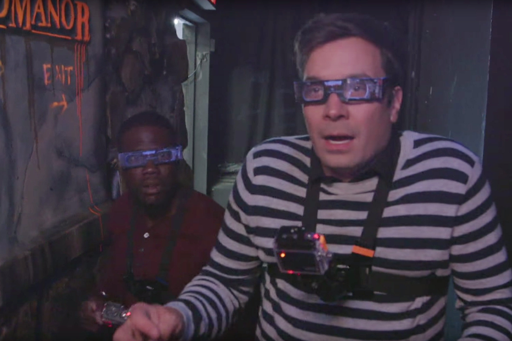 Jimmy Fallon celebrated Halloween two weeks early by paying a visit to Blood Manor, New York's spookiest haunted house, with his partner in crime, Kevin Hart