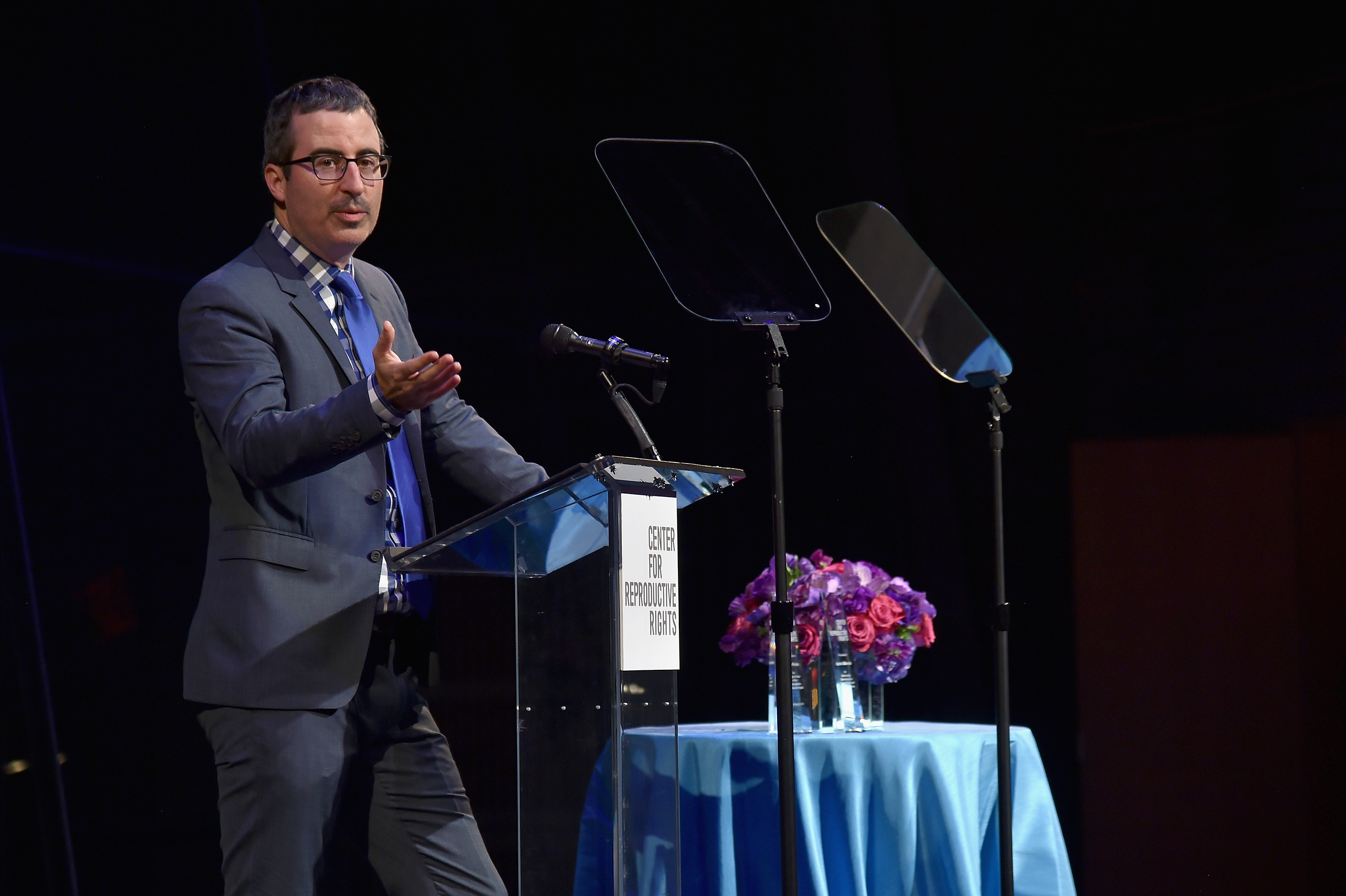 John Oliver speaks onstage at The Center for Reproductive Rights 2016 Gala at the Jazz at Lincoln Center on October 25, 2016 in New York City.