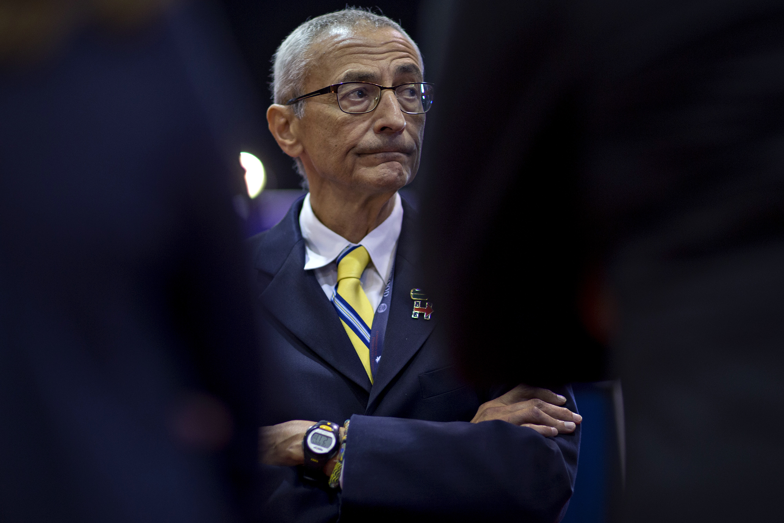 John Podesta, campaign chairman of the Democratic Nominee Hillary Clinton, waits to speak to members of the media in the spin room ahead of the vice presidential debate at Longwood University in Farmville, Va., on Oct. 4, 2016.