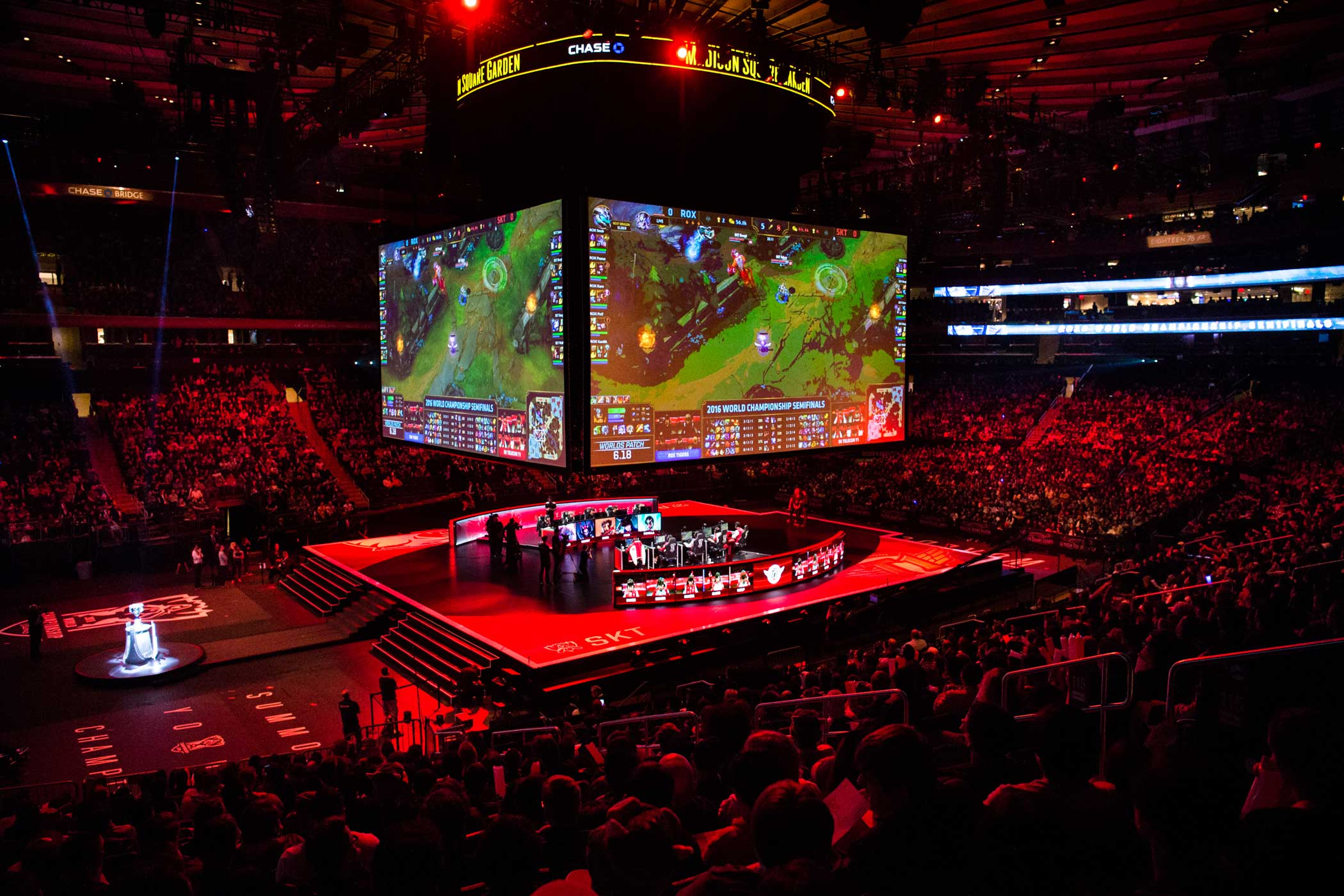 A sold-out crowd at Madison Square Garden watches the first semifinal matchup for the League of Legends World Championship between the ROX Tigers and SK Telecom T1 on Oct. 22, 2016.