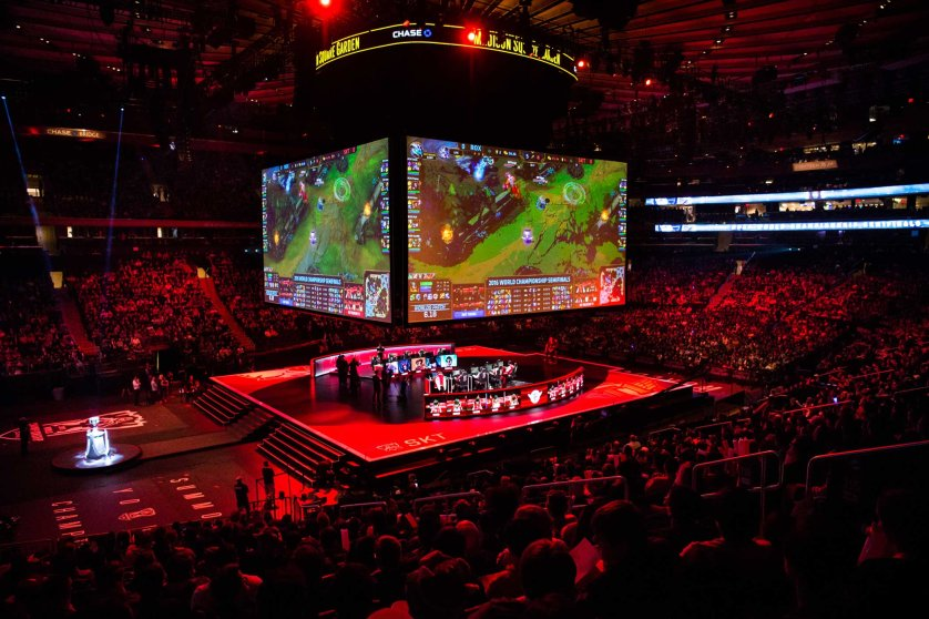 A sold-out crowd watches the first semifinal matchup for the League of Legends World Championship between the ROX Tigers and SK Telecom T1, a repeat of the 2015 finals matchup between two powerhouse Korean teams. Mark Kauzlarich for TIME