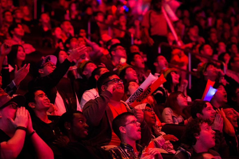 Fans cheer during the first semifinal match between SK Telecom T1 and ROX Tigers on Friday night at Madison Square Garden. Mark Kauzlarich for TIME