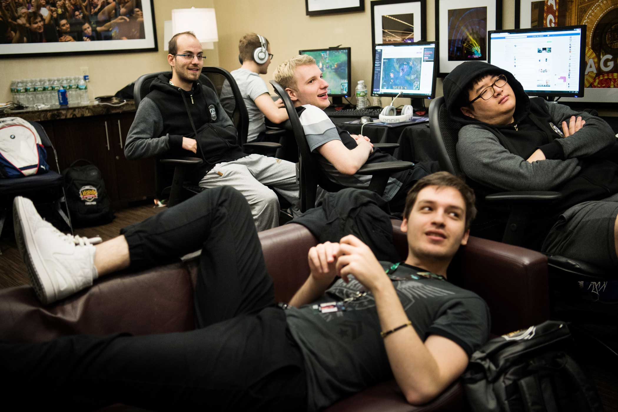 Team members of H2k-Gaming watch the semifinal match as they await to play their semifinal match on the following night. The team enjoyed the match just as much as any fan, laughing at the unorthodox strategy from ROX Tigers while debating how they would defeat it if they faced it against Samsung Galaxy the next day.