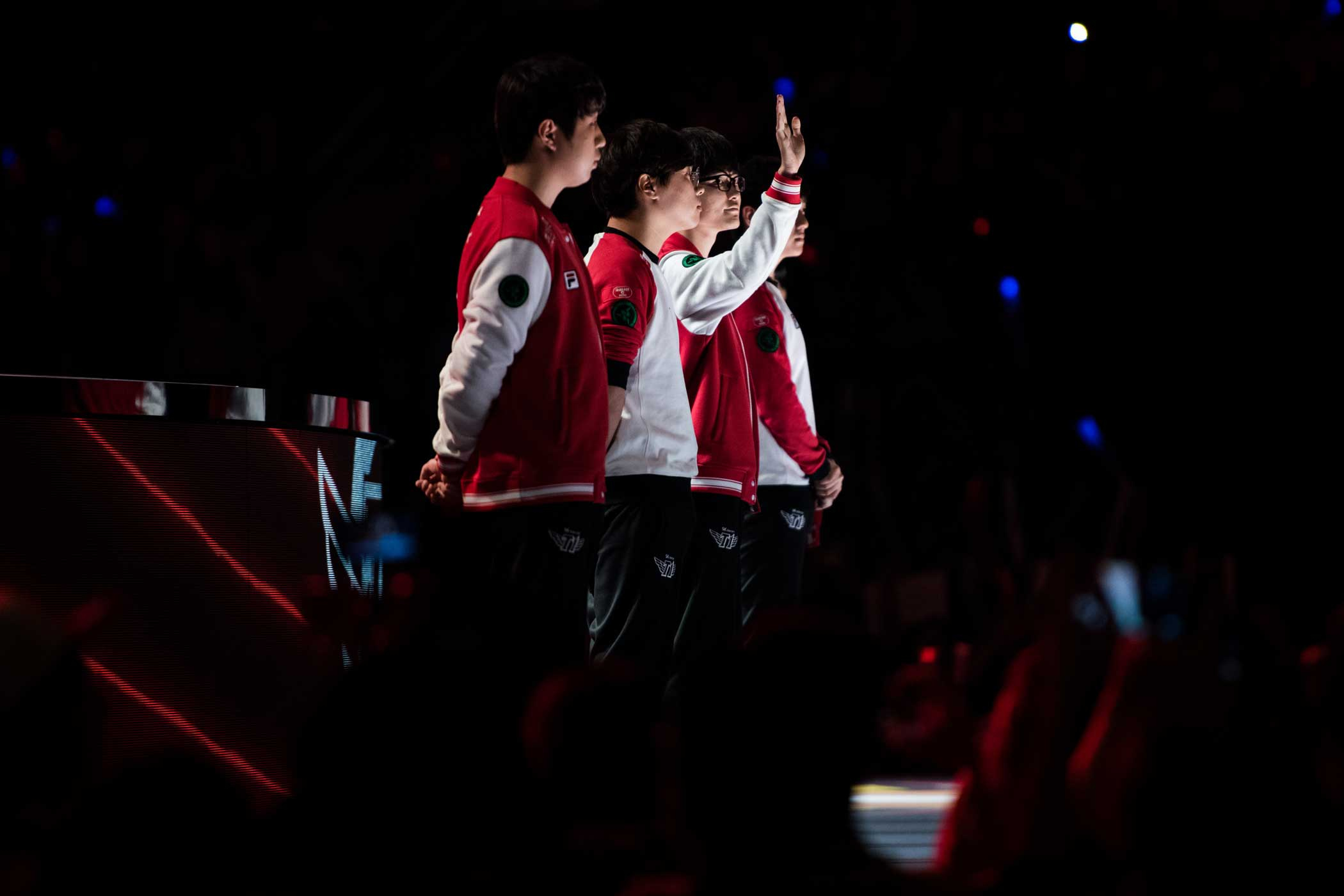 Lee  Faker  Sang-hyeok, second from right, potentially the greatest player in the history of League of Legends, waves to the crowd with his teammates on SK Telecom T1.