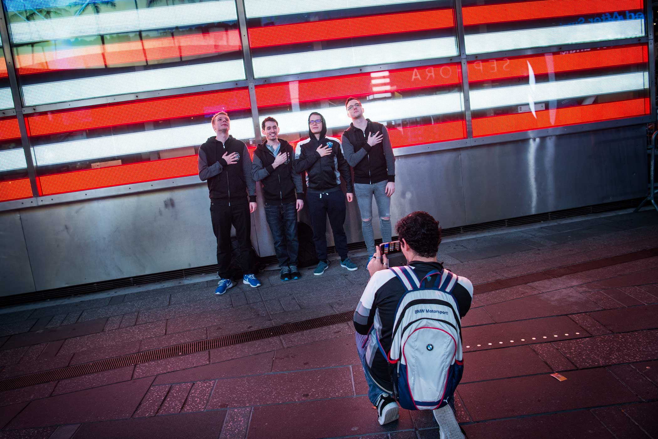 Members of H2k stand for a photo as they walk through Times Square at 2AM the day of their semifinal matchup with Samsung Galaxy for a chance to play in the League of Legends World Championship Finals.