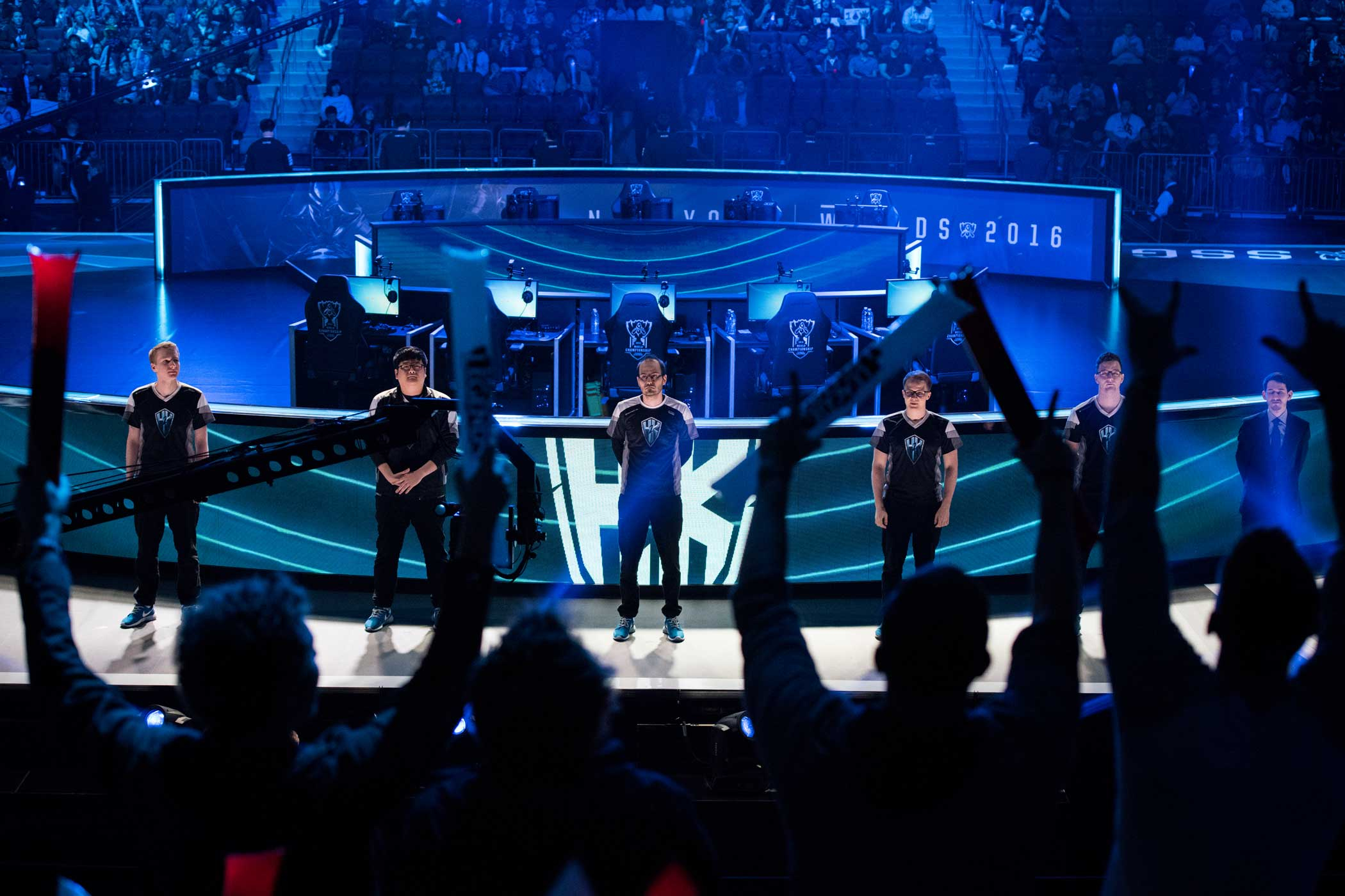 Fans cheer as H2k is introduced before their matchup.