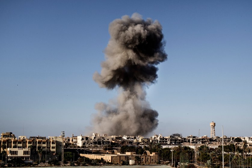 Smoke rises after an airstrike on the District 3 of Sirte, the last stronghold of Islamic State (IS) on September 28, 2016.