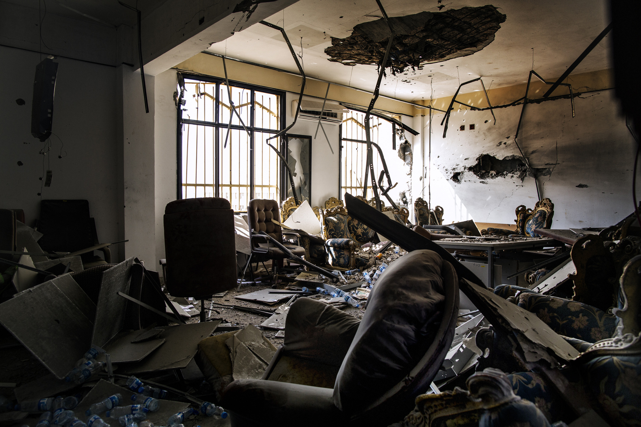 A destroyed room in the Central Bank of Sirte, Libya, Sept. 27, 2016.