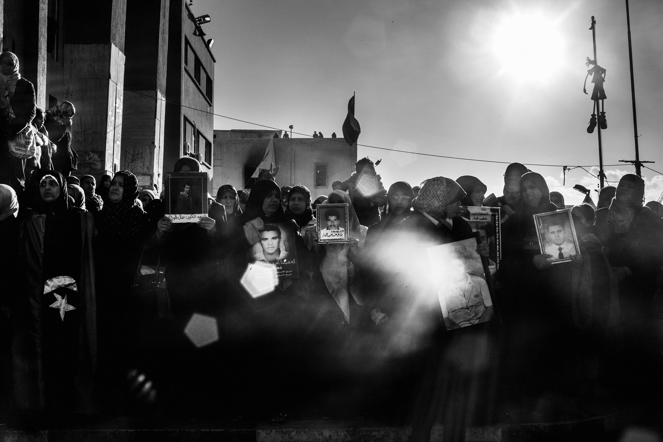 Libyan women demonstrate in the central square of Benghazi in memory of the death of fighters killed by Gaddafi forces,  Feb. 28, 2011.