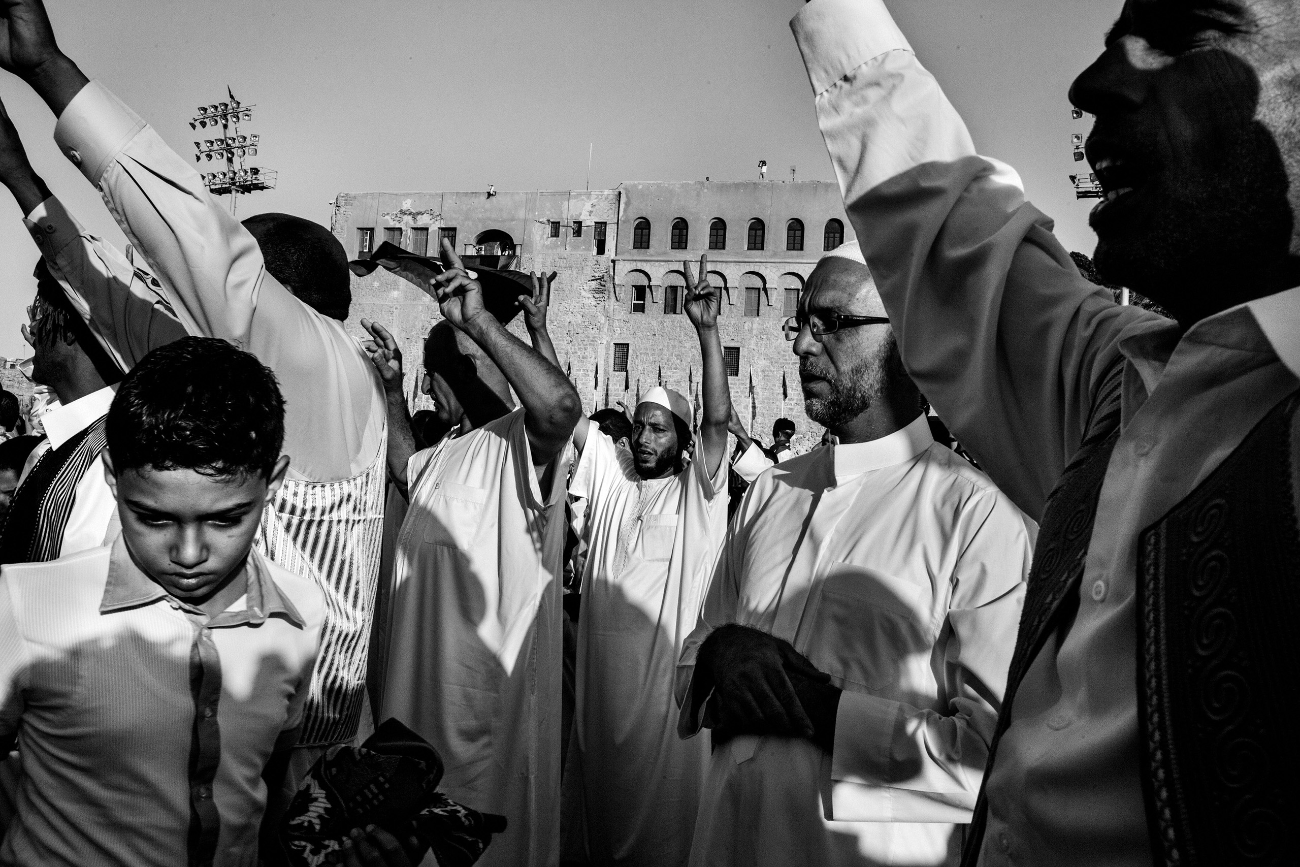 After Friday prayers,  Libyan people celebrate in the Square of the Revolution, formerly Green Square, Tripoli, Libya, Aug. 31, 2011.