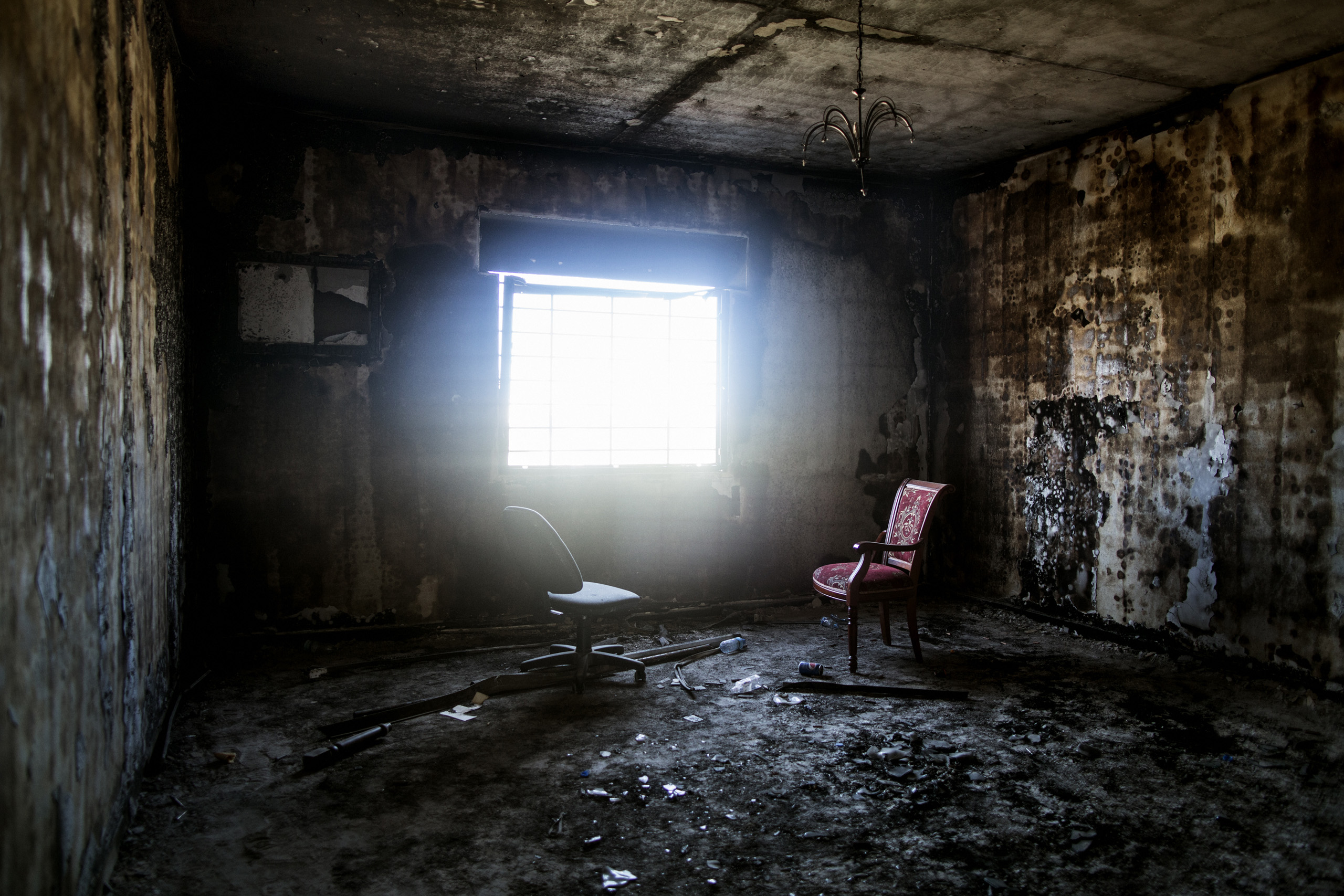 An interior of a destroyed house in Sirte, Libya, Sept. 29, 2016.