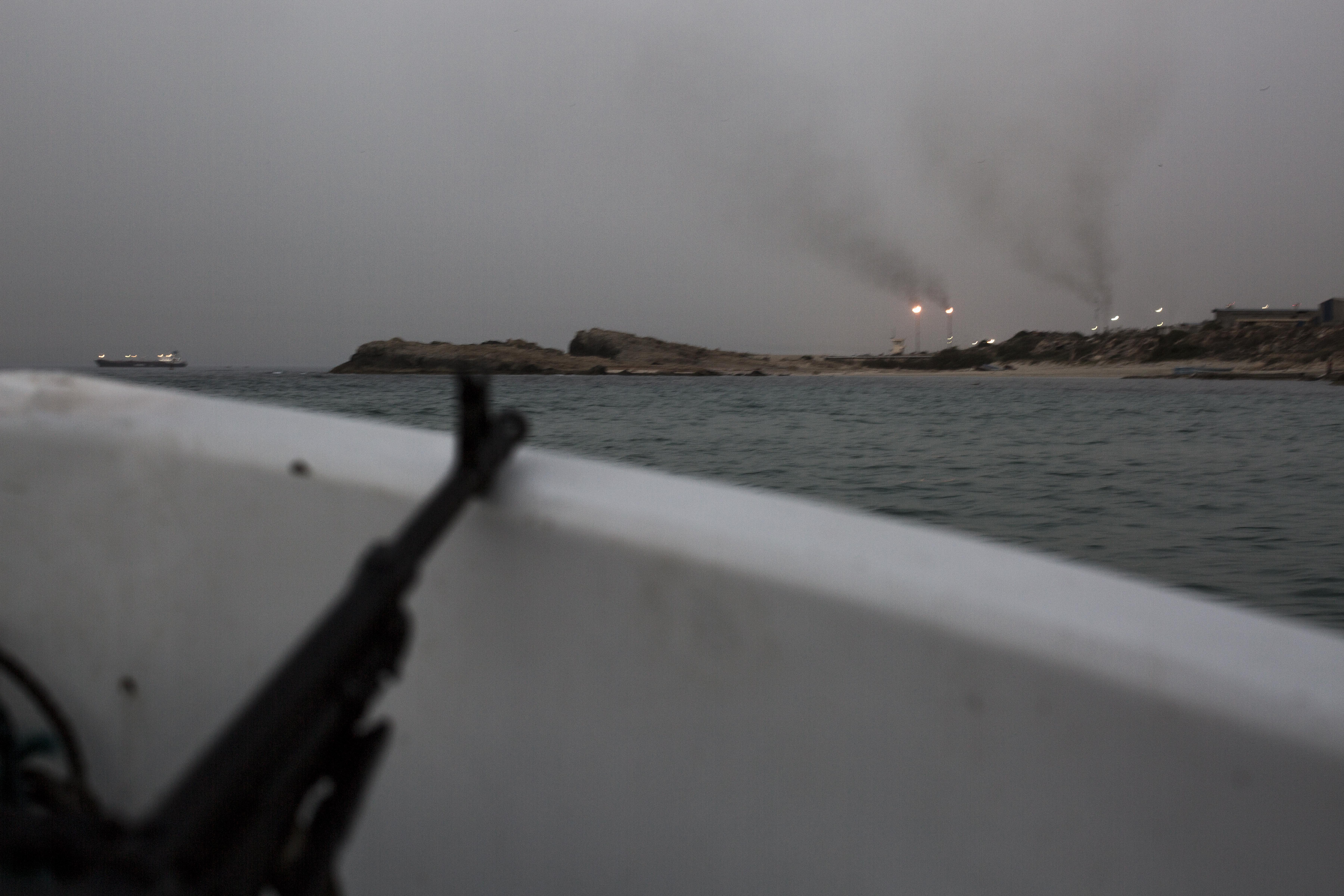 The Zawyah refinery seen from a boat during surveillance operations carried out by Libyan coastguards.