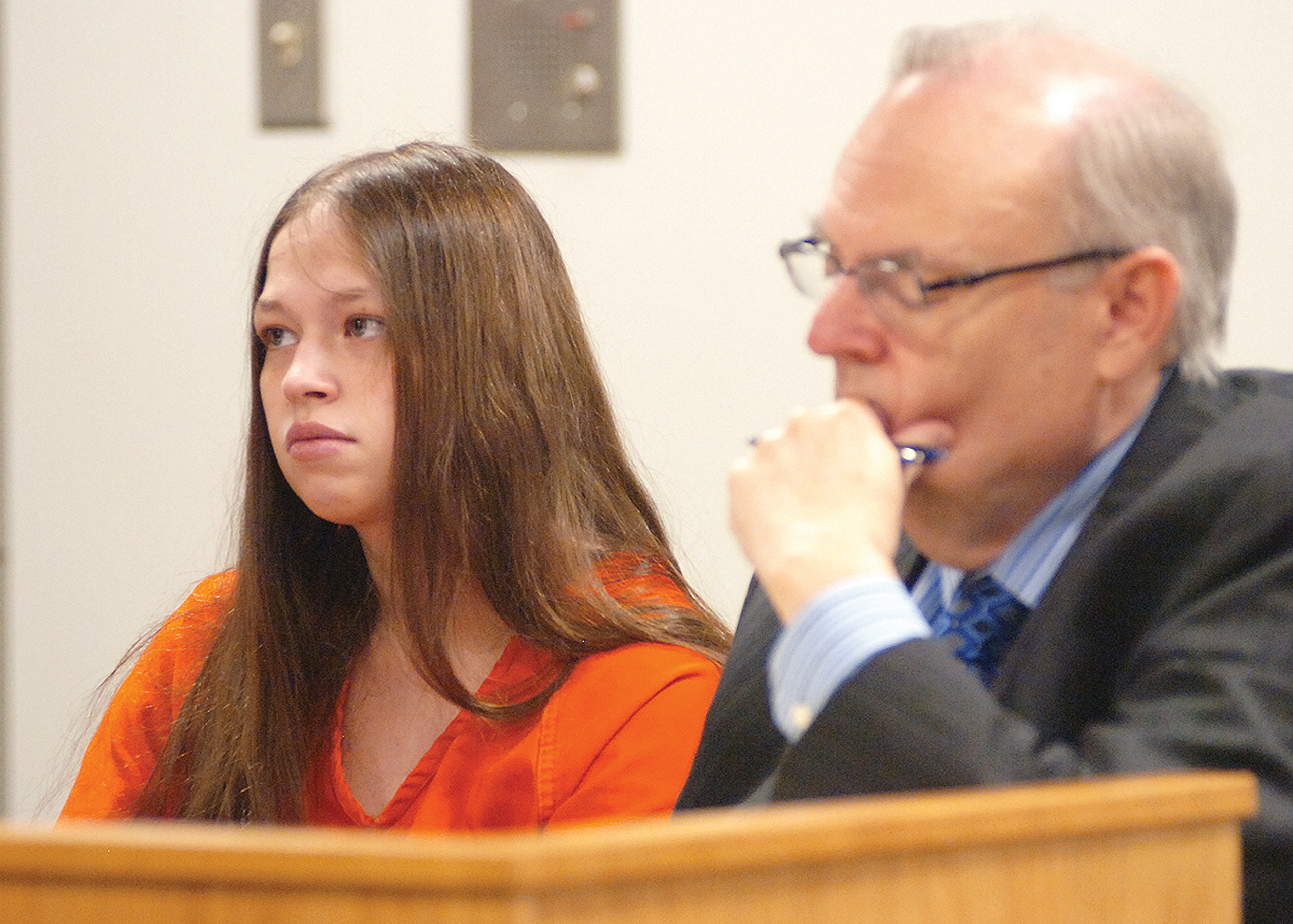 Brittany Pilkington appears for arraignment on three capital murder charges with her attorney Marc S. Triplett in Logan County Common Pleas Court in Bellefontaine, Ohio, on Aug. 26, 2015. Pilkington is charged with suffocating her three sons over a 13-month period.