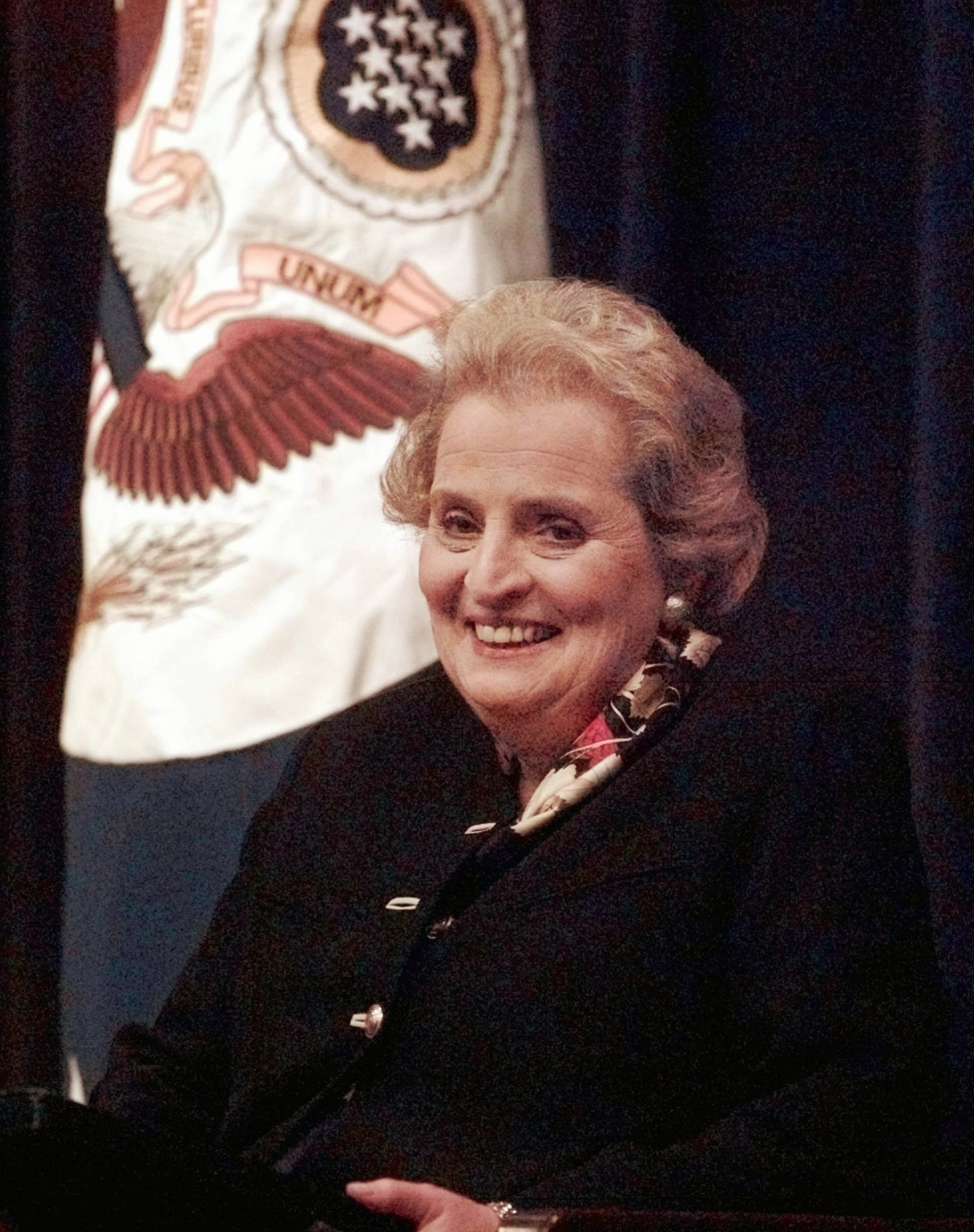 Secretary of State Madeleine Albright smiles while meeting with State Department employees during a town hall meeting at the State Department in Washington Monday Jan. 27, 1997.