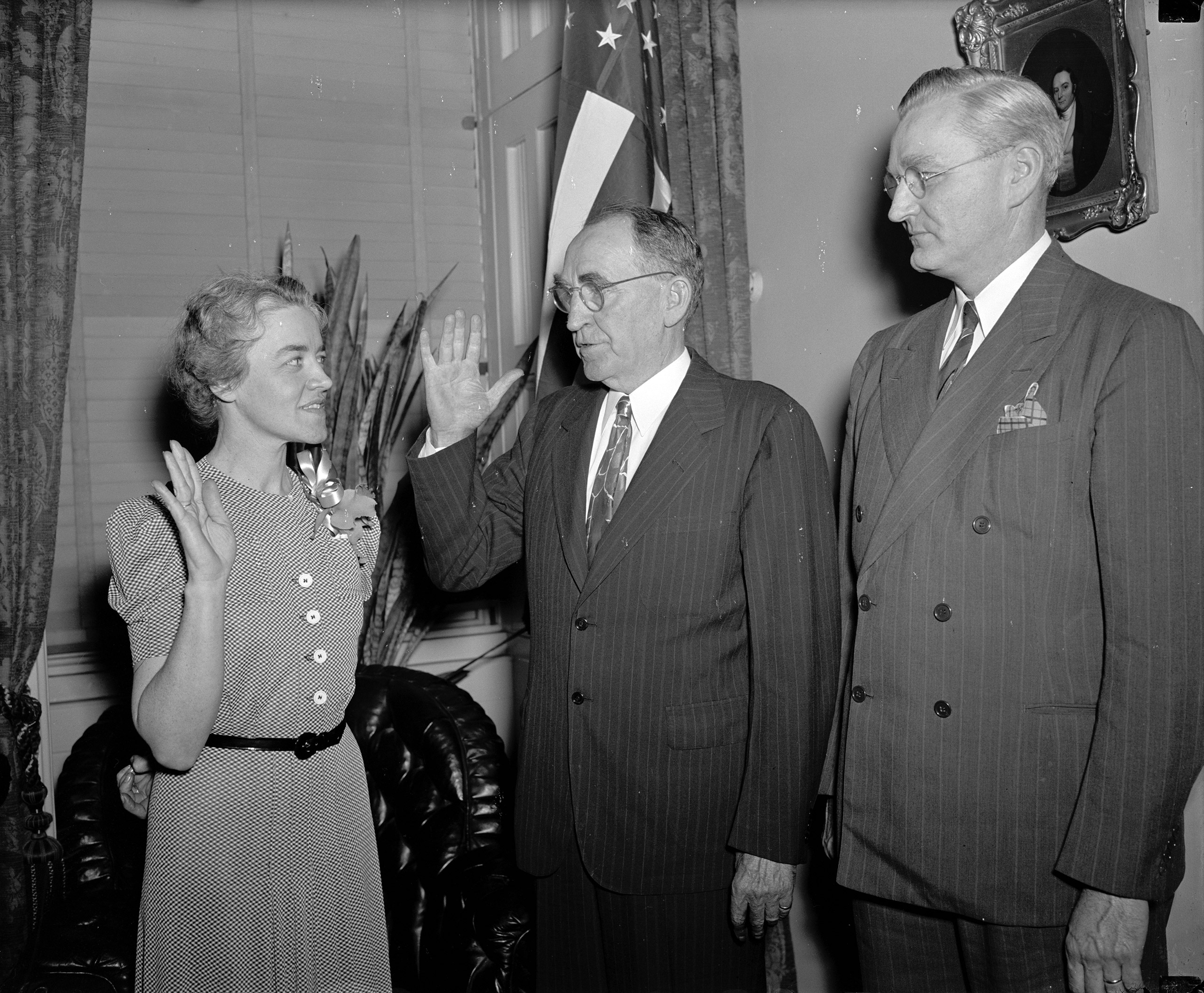 Margaret Chase Smith, wife of the late Rep. Clyde Smith, Maine Republican, being sworn in, June 10, 1940.