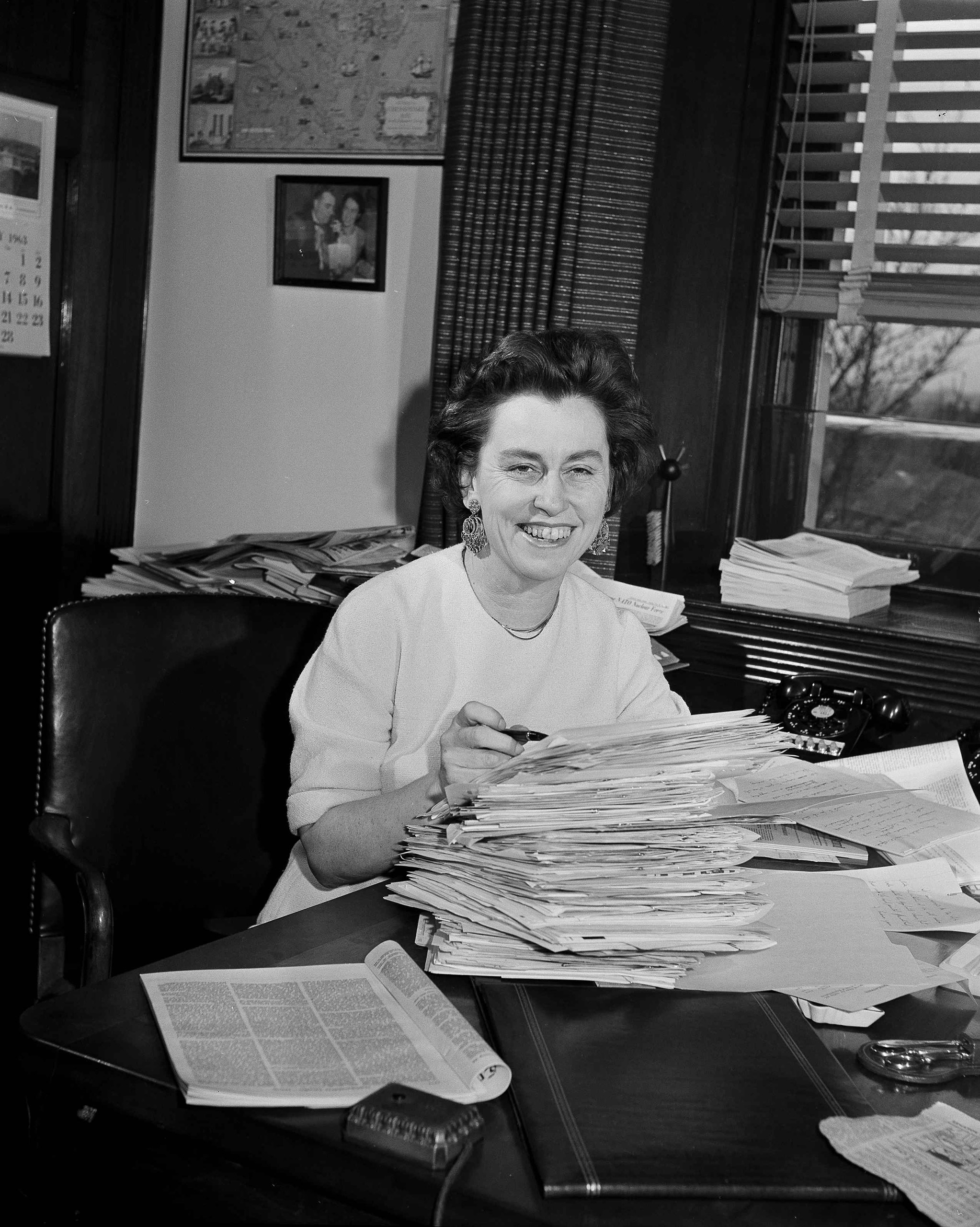 Rep. Martha W. Griffiths (D-Mich.) displays a stack of mail in her Capitol office in Washington, March 3, 1963.