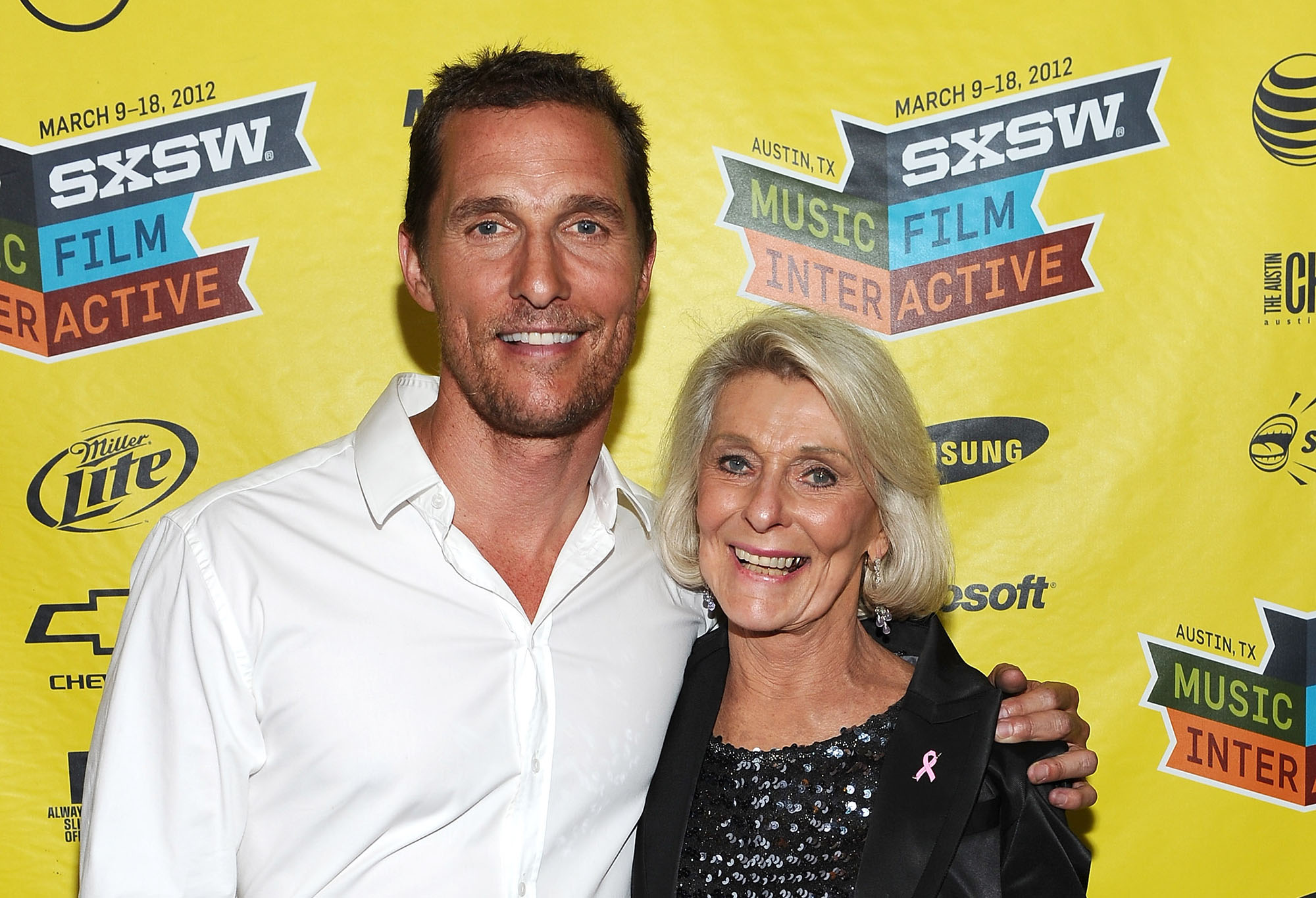 Matthew McConaughey (L) and mother Kay McConaughey attend the world premiere of  Bernie  during the 2012 SXSW Music, Film + Interactive Festival at Paramount Theatre on March 13, 2012 in Austin, Texas.  (Photo by Michael Buckner/Getty Images for SXSW)