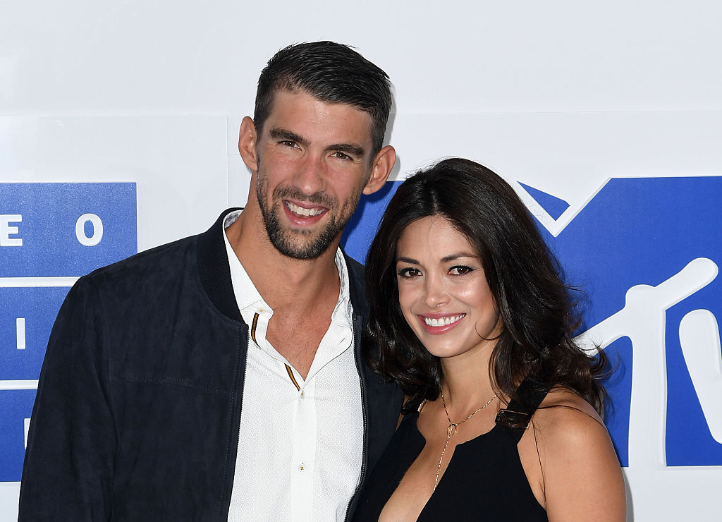 Olympic Swimmer Michael Phelps and Nicole Johnson attend the 2016 MTV Video Music Awards Arrivals at Madison Square Garden on August 28, 2016 in New York City.