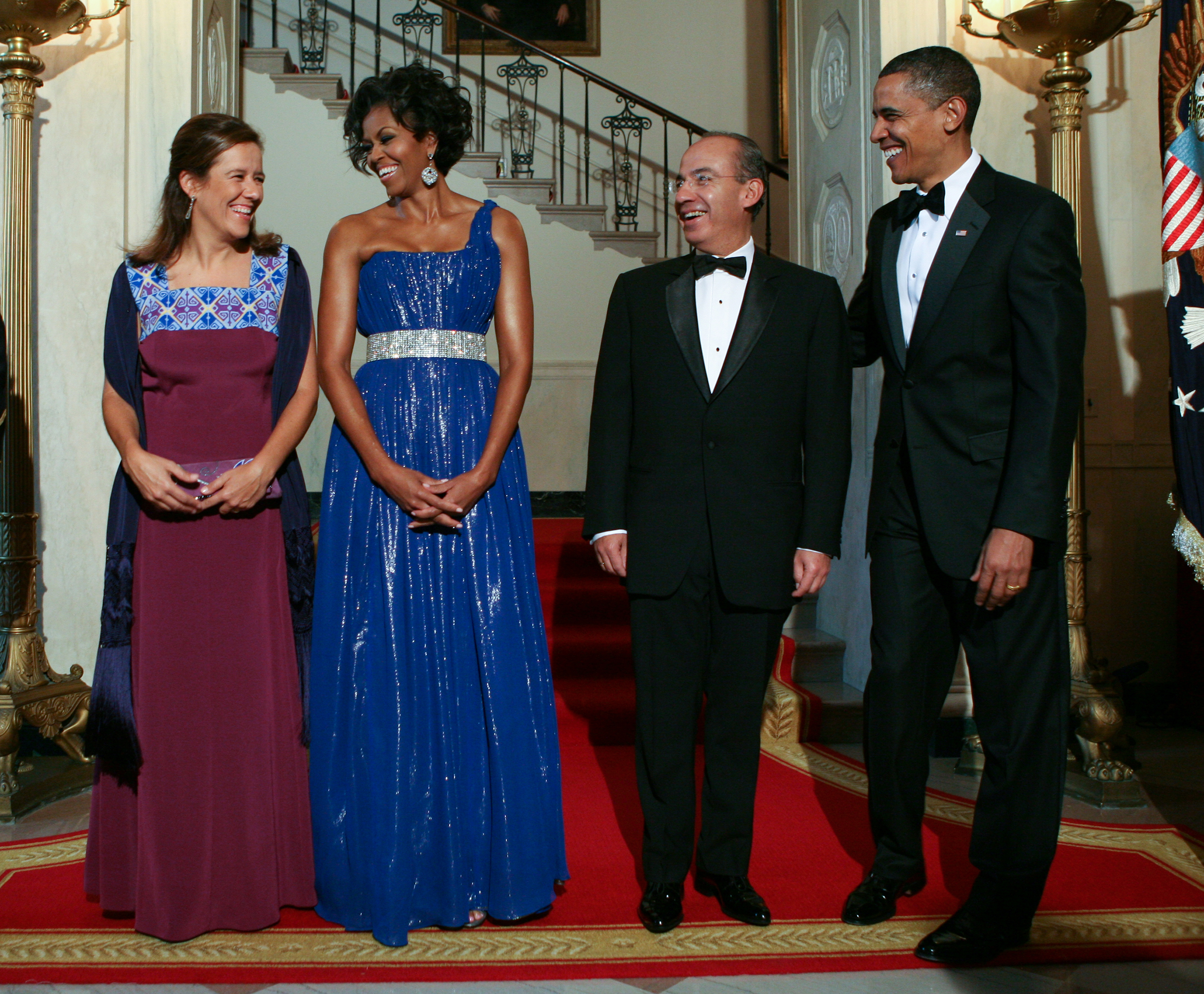Barack Obama and Michelle Obama welcome Mexican President Felipe Calderon and his wife Margarita Zavala to the White House in Washington, D.C., on  May 19, 2010.