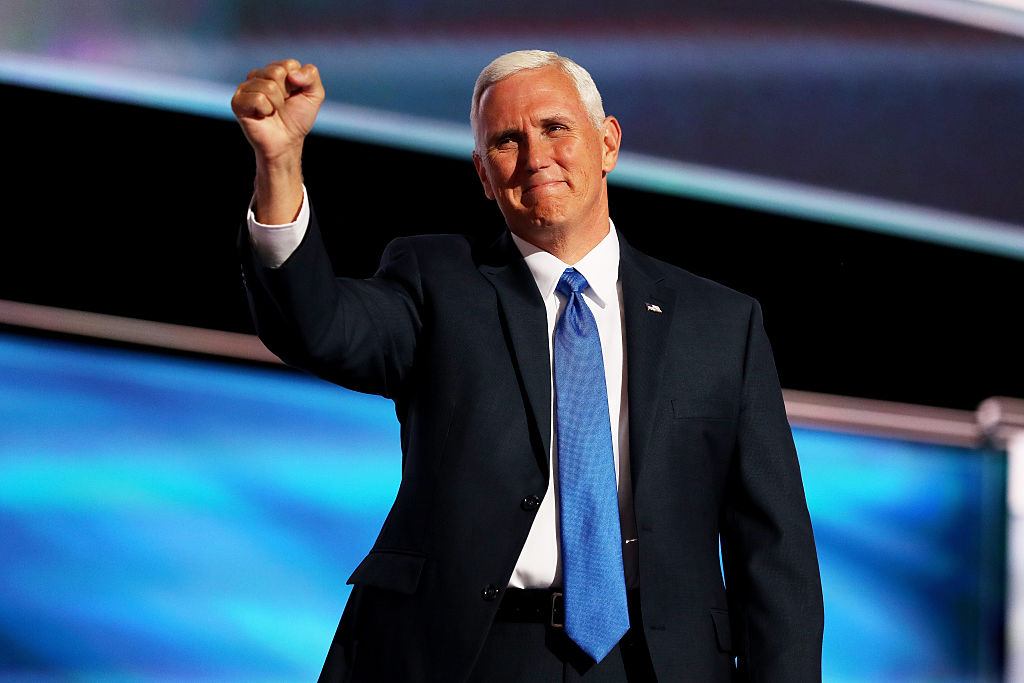 Mike Pence on the third day of the Republican National Convention on July 20, 2016 at the Quicken Loans Arena in Cleveland, Ohio.