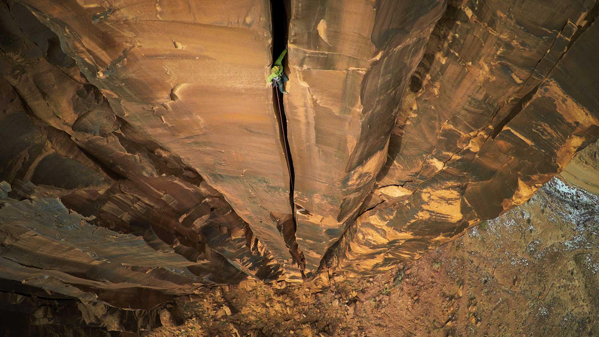 Rock climbing in Moab, Utah, United States.