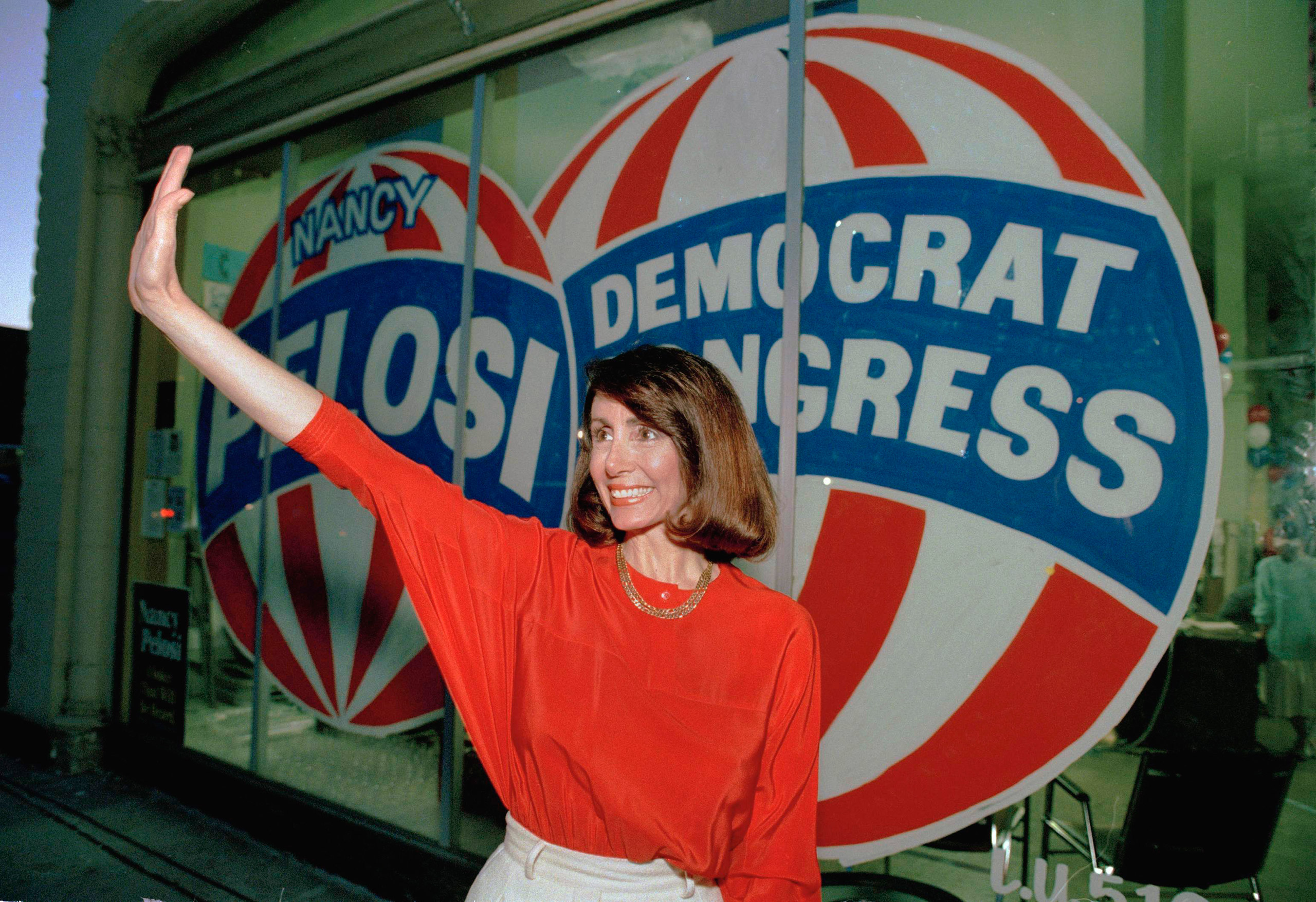 Congressional candidate Nancy Pelosi, D-Calif., waves at the Headquarters in San Francisco Tuesday night April 7, 1987.
