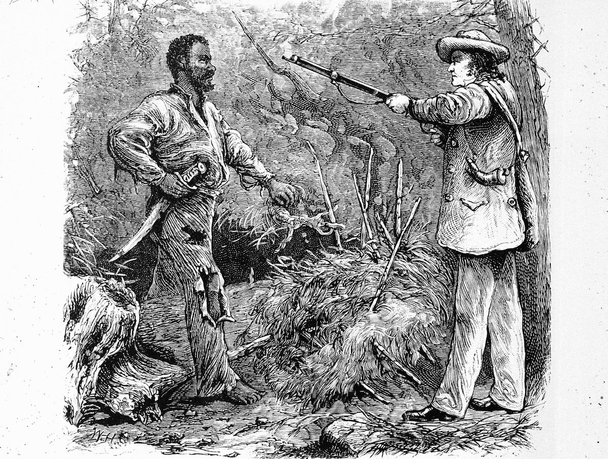 Illustration of the discovery of Nat Turner (1800 - 1831), the American slave who led an uprising in August 1831.