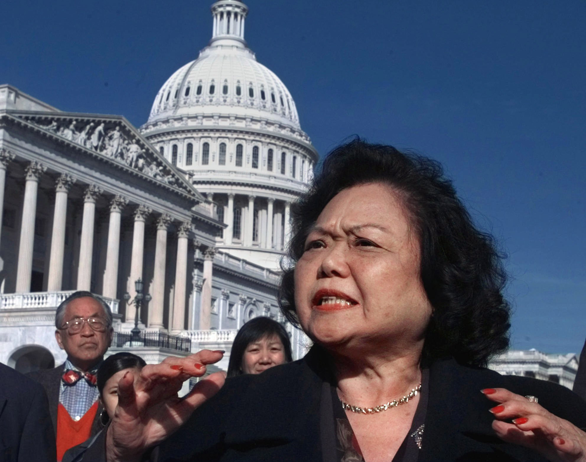 Patsy Mink, D-Hawaii, meets reporters on Capitol Hill Wednesday Nov. 5, 1997