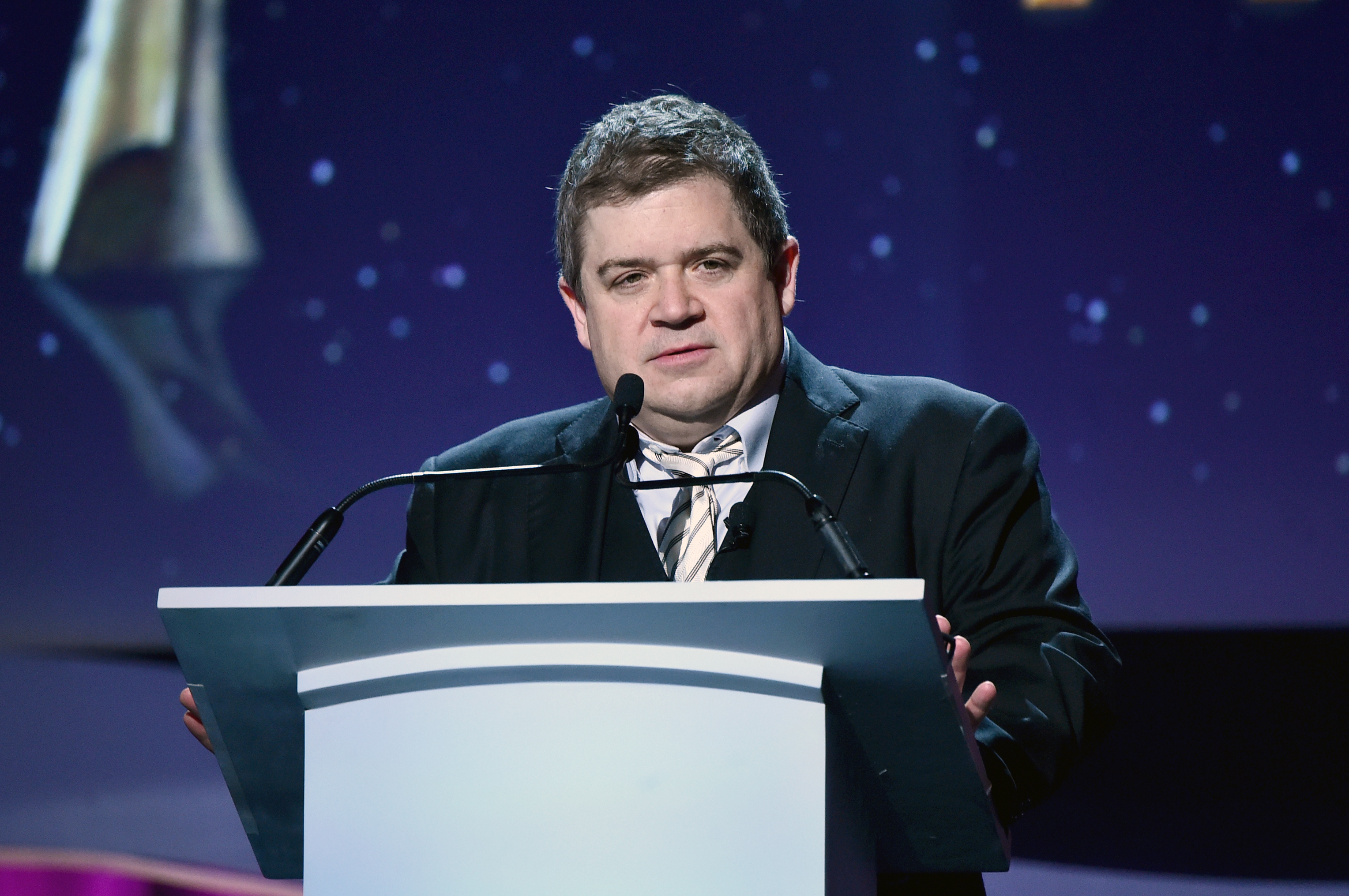 Host Patton Oswalt speaks onstage during the 2016 Writers Guild Awards at the Hyatt Regency Century Plaza on February 13, 2016 in Los Angeles, California.