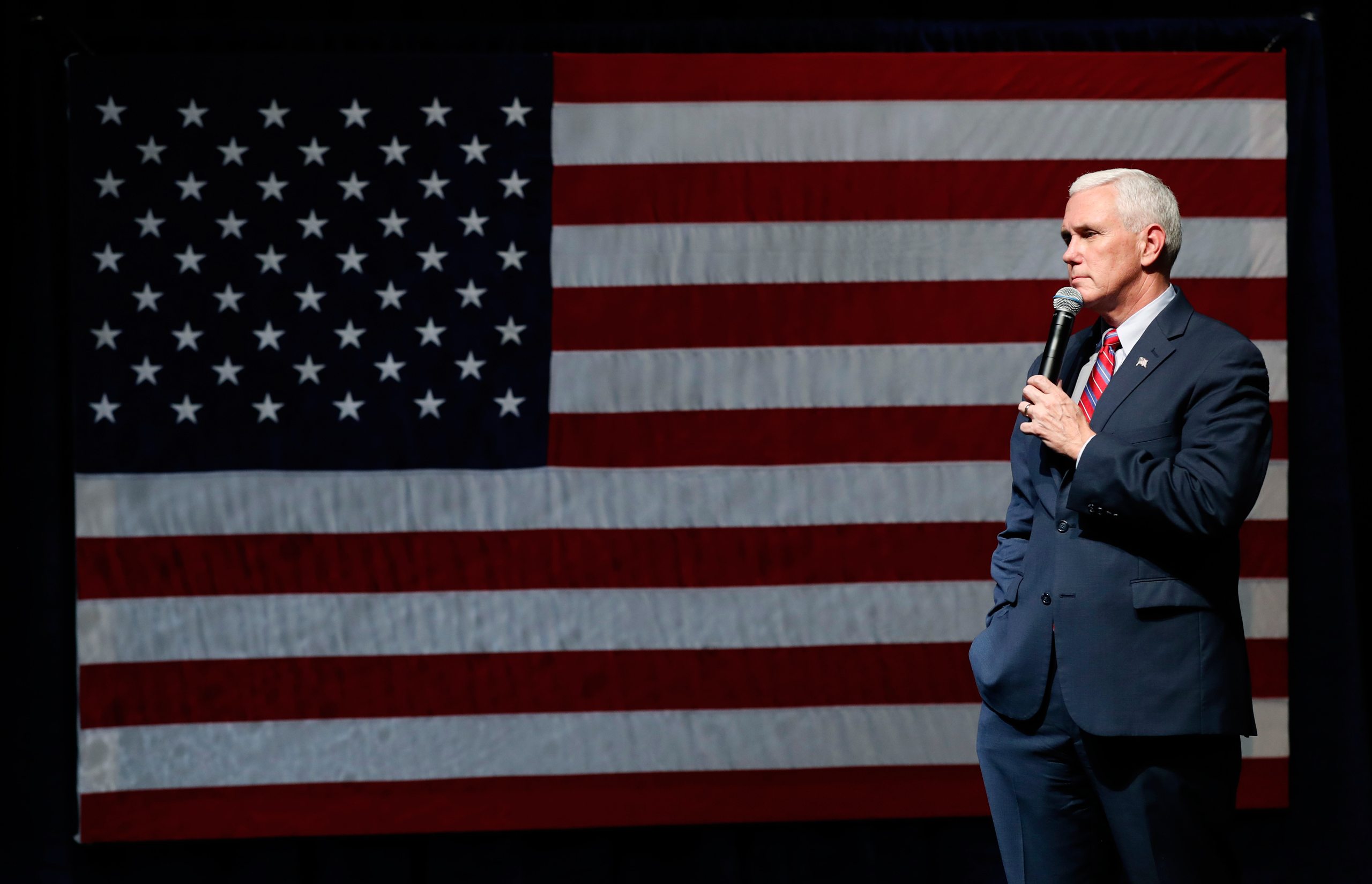 Republican vice presidential candidate Indiana Gov. Mike Pence speaks during a campaign rally in Newton, Iowa, on Oct. 11, 2016.