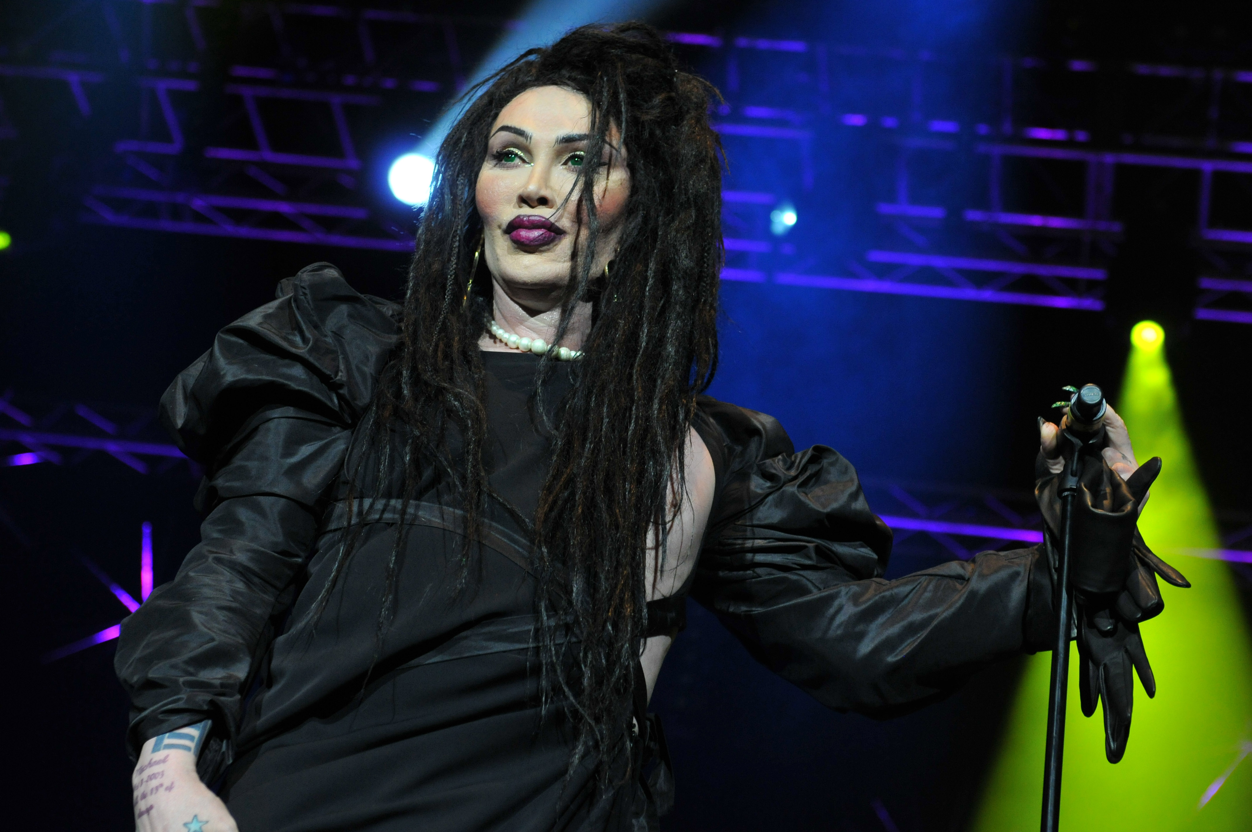 Pete Burns of Dead or Alive performs on stage at Hit Factory Live: Christmas Cracker at 02 Arena on December 21, 2012 in London, England.