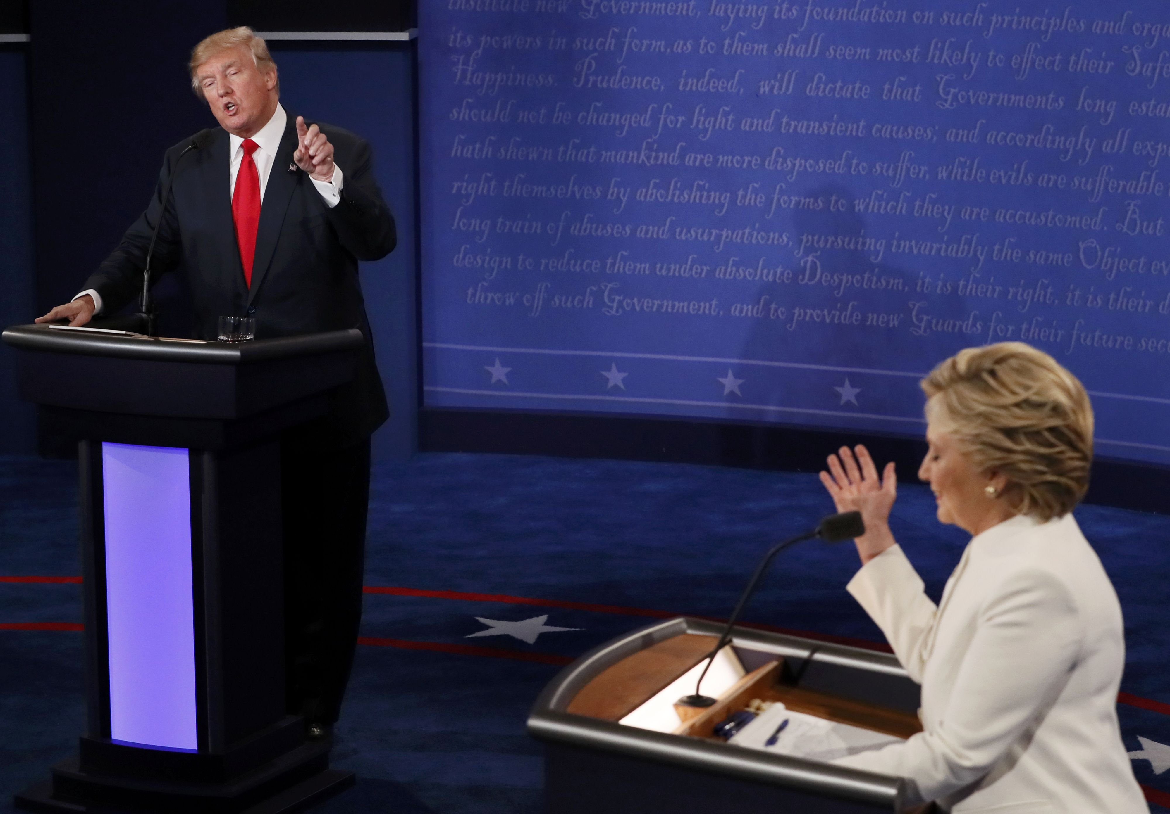 Presidential nominees Donald Trump and Hillary Clinton debate in Las Vegas on Oct. 19, 2016.