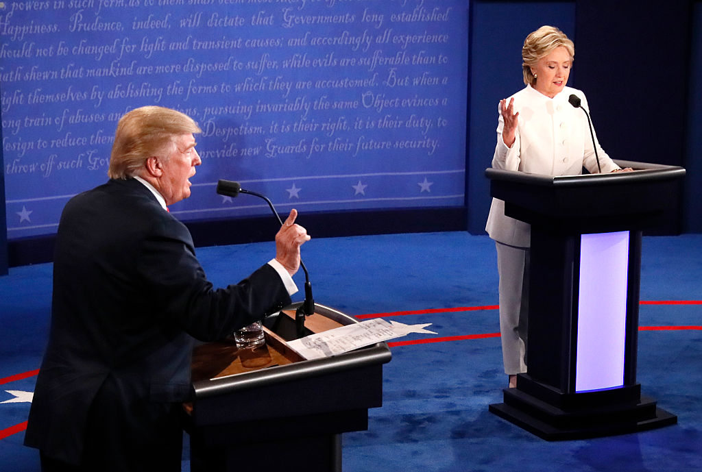 Republican nominee Donald Trump and Democratic nominee Hillary Clinton speak during the final presidential debate at the University of Las Vegas in Las Vegas, Nevada on Oct. 19, 2016.