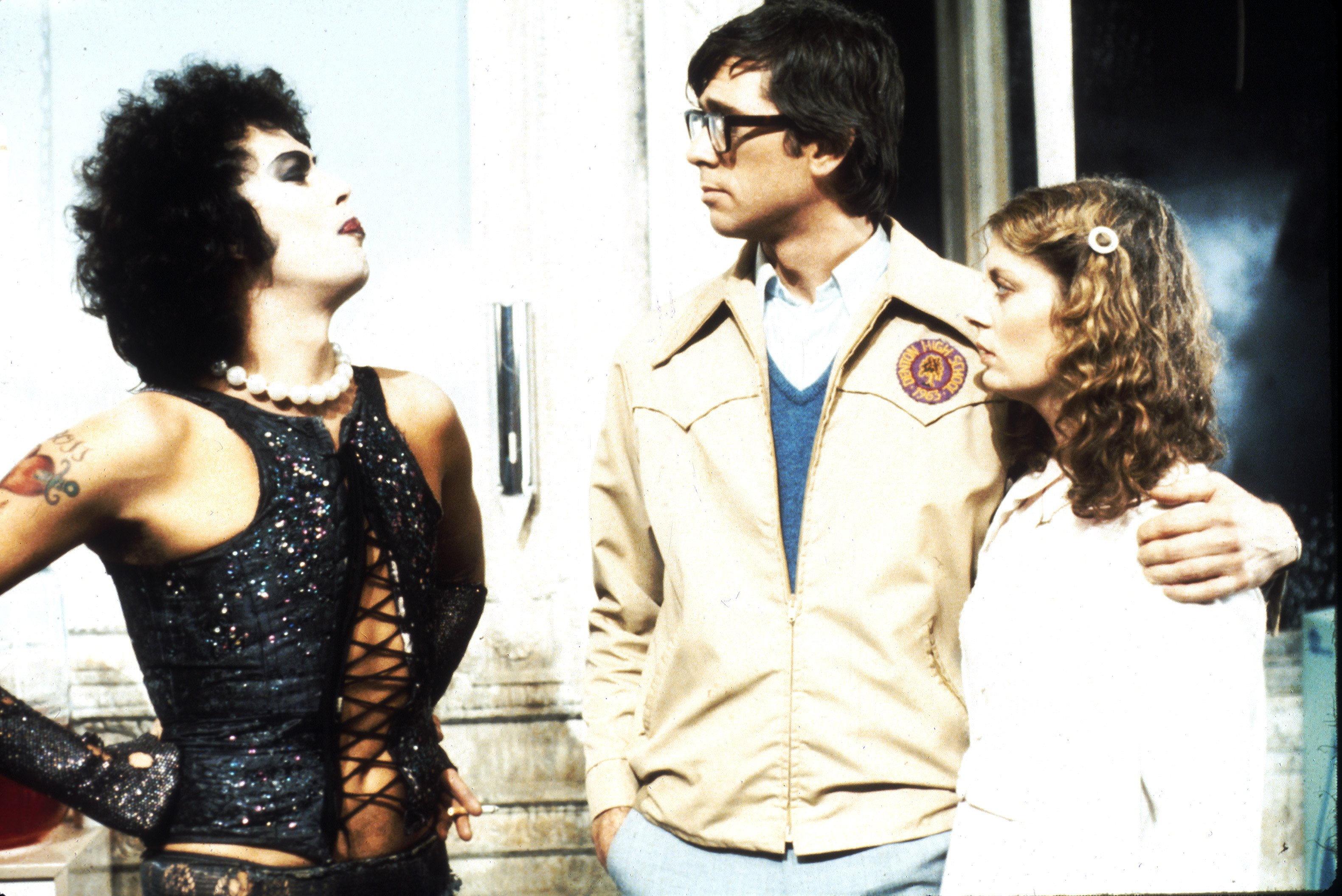1975: Actors Tim Curry, Barry Bostwick and Susan Sarandon in scene from movie  The Rocky Horror Picture Show  directed by Jim Sharman.