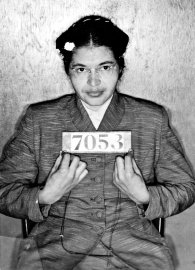 Booking photo of American Civil Rights activist Rosa Louise McCauley Parks taken at the time of her arrest for refusing to give up her seat on a Montgomery, Ala., bus to a white passenger on Dec. 1, 1955.