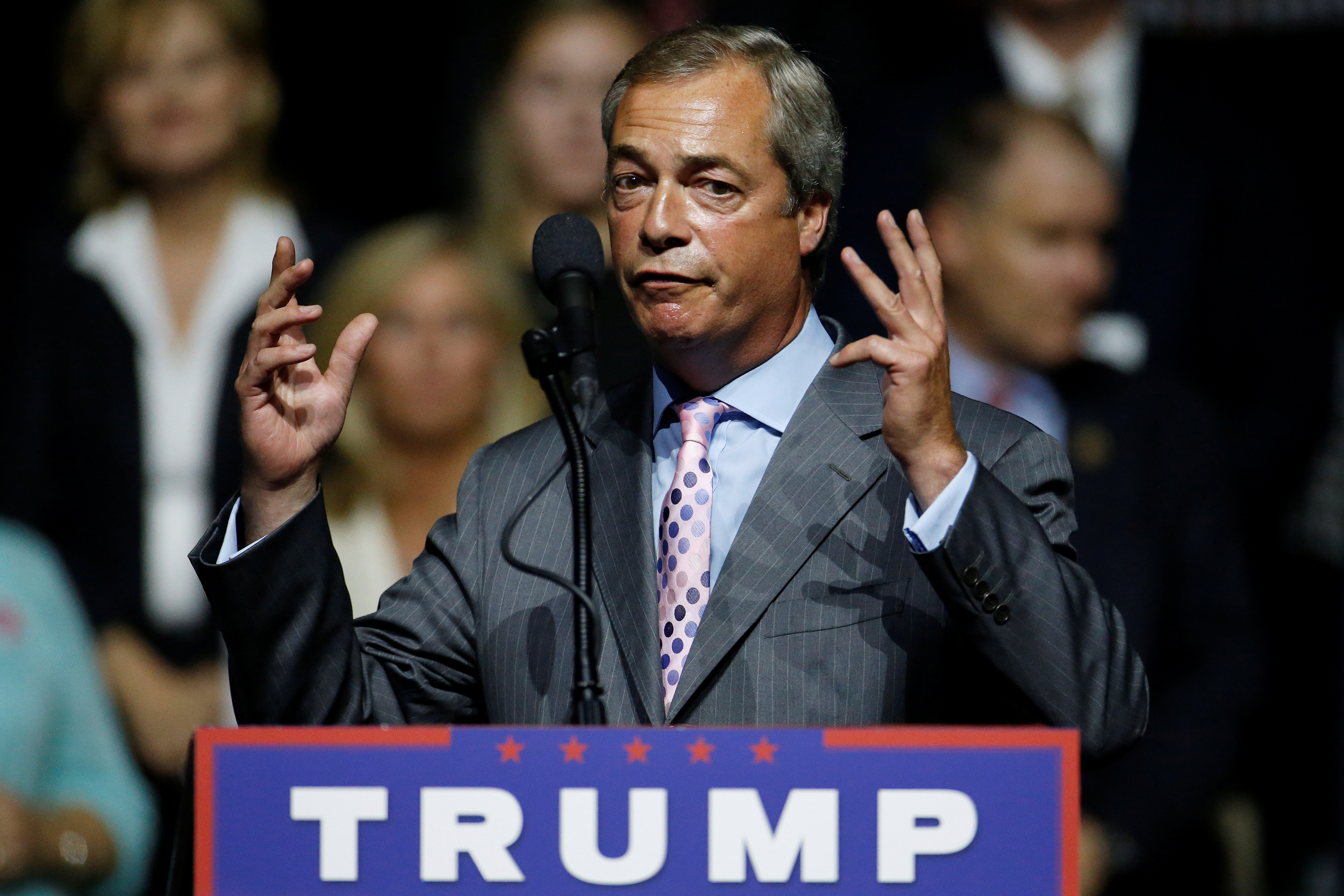 Outgoing UKIP leader Nigel Farage speaks during a campaign rally of Republican presidential nominee Donald Trump in Jackson, Miss., on Aug. 24, 2016