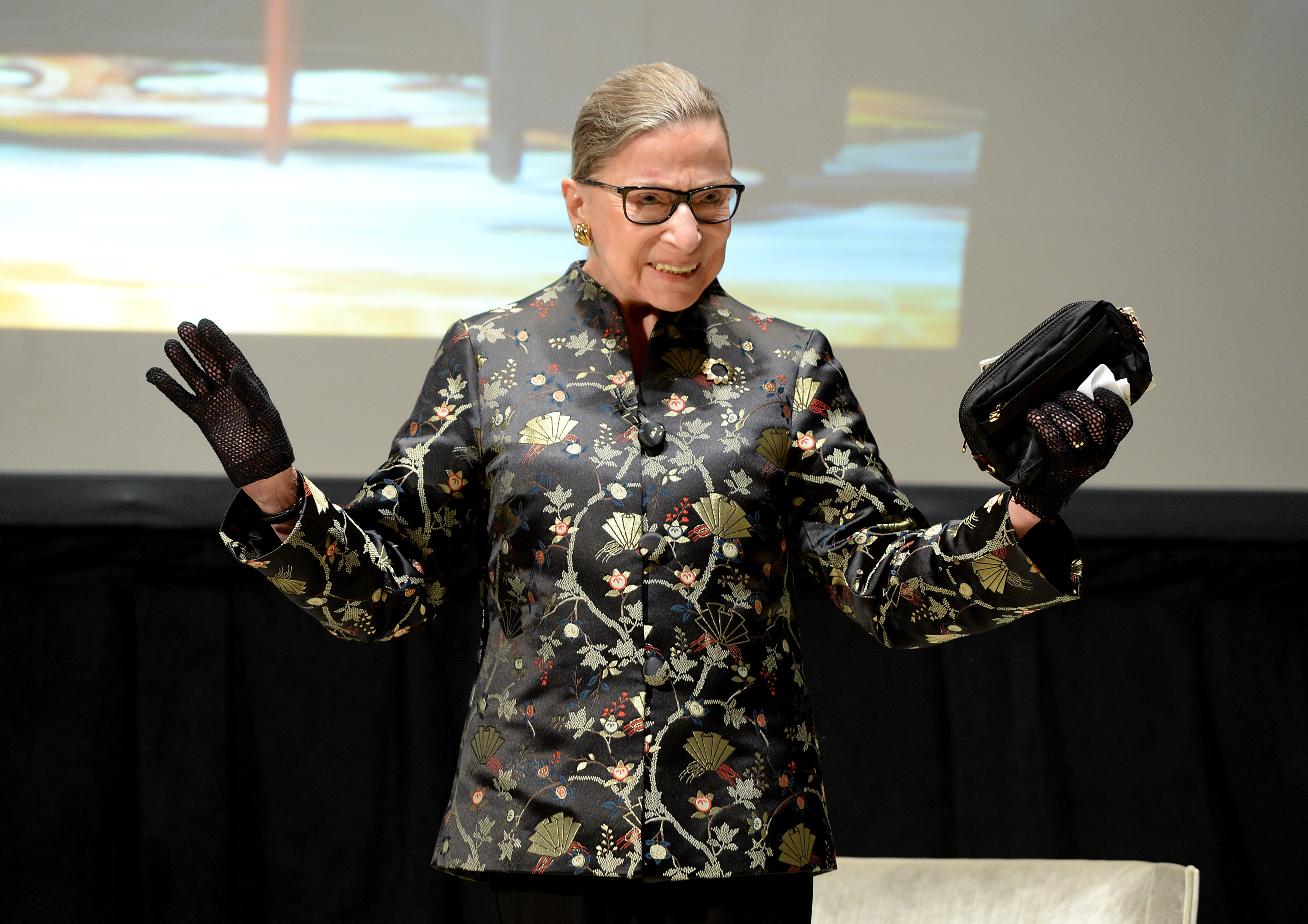 Supreme Court Justice Ruth Bader Ginsburg, pictured here on September 21, 2016 in New York City, seems well-accustomed to basking in applause.